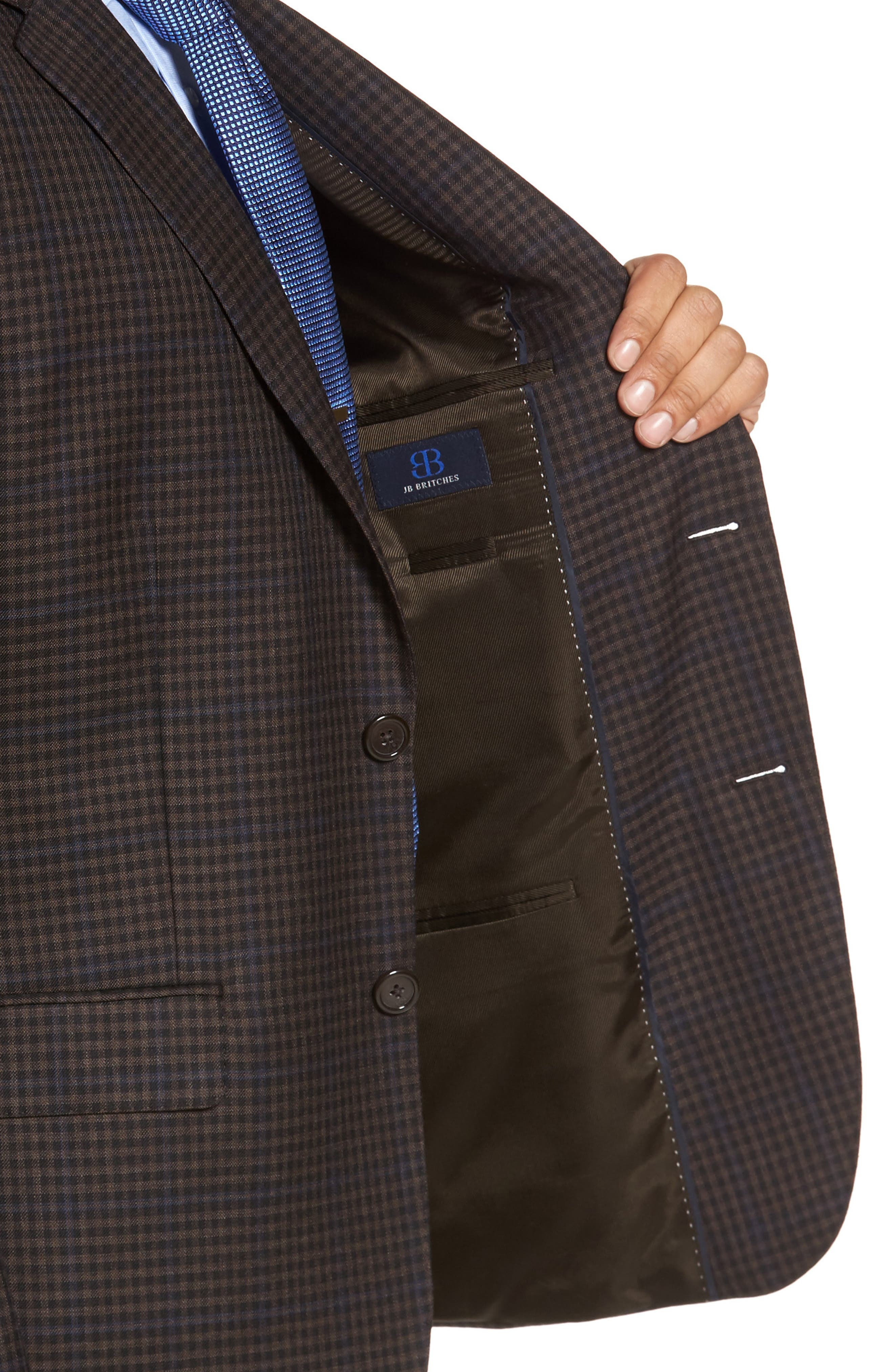 Classic Fit Plaid Wool Sport Coat,                             Alternate thumbnail 4, color,                             Brown