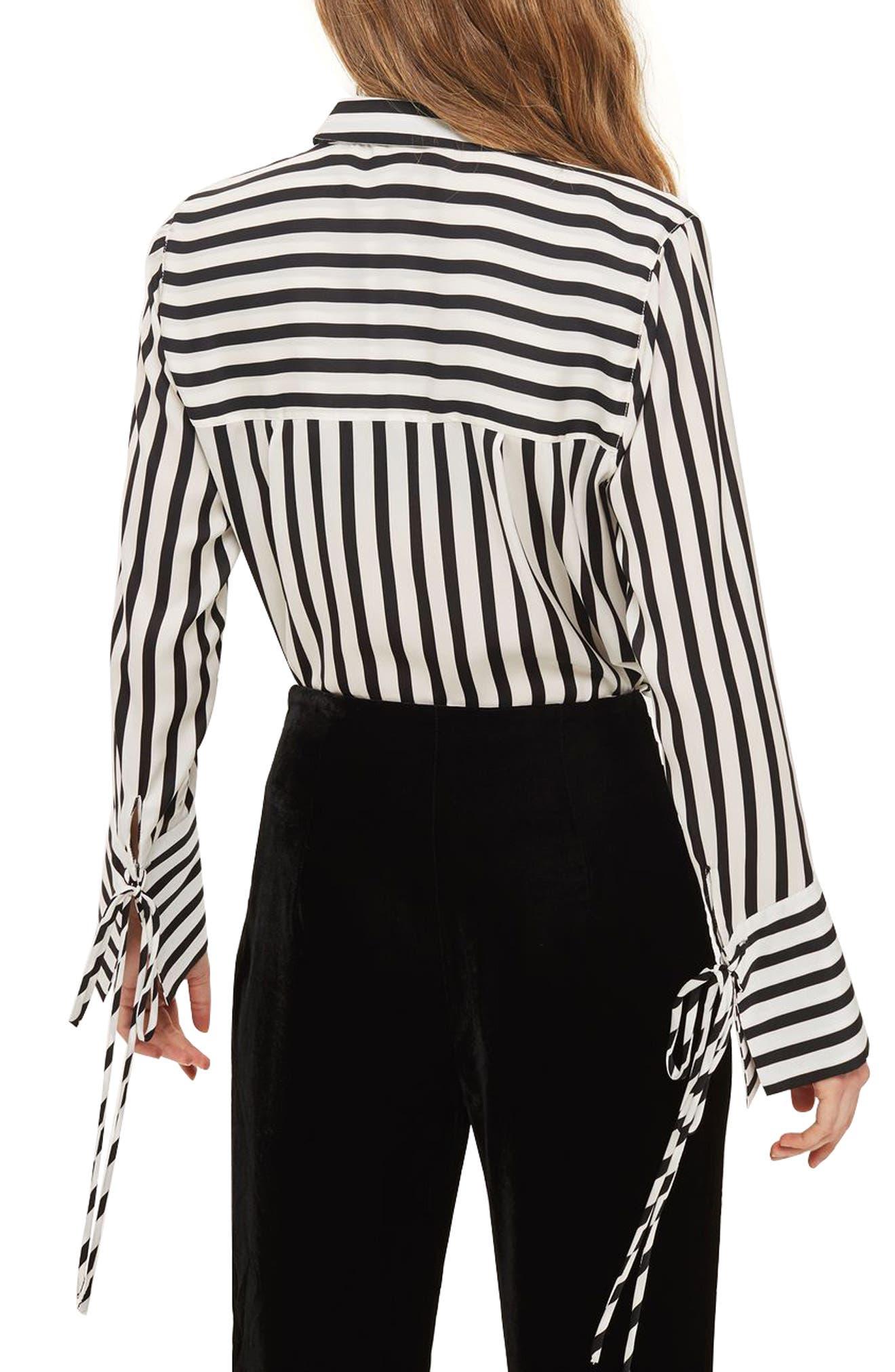 Alternate Image 3  - Topshop Tie Cuff Stripe Shirt