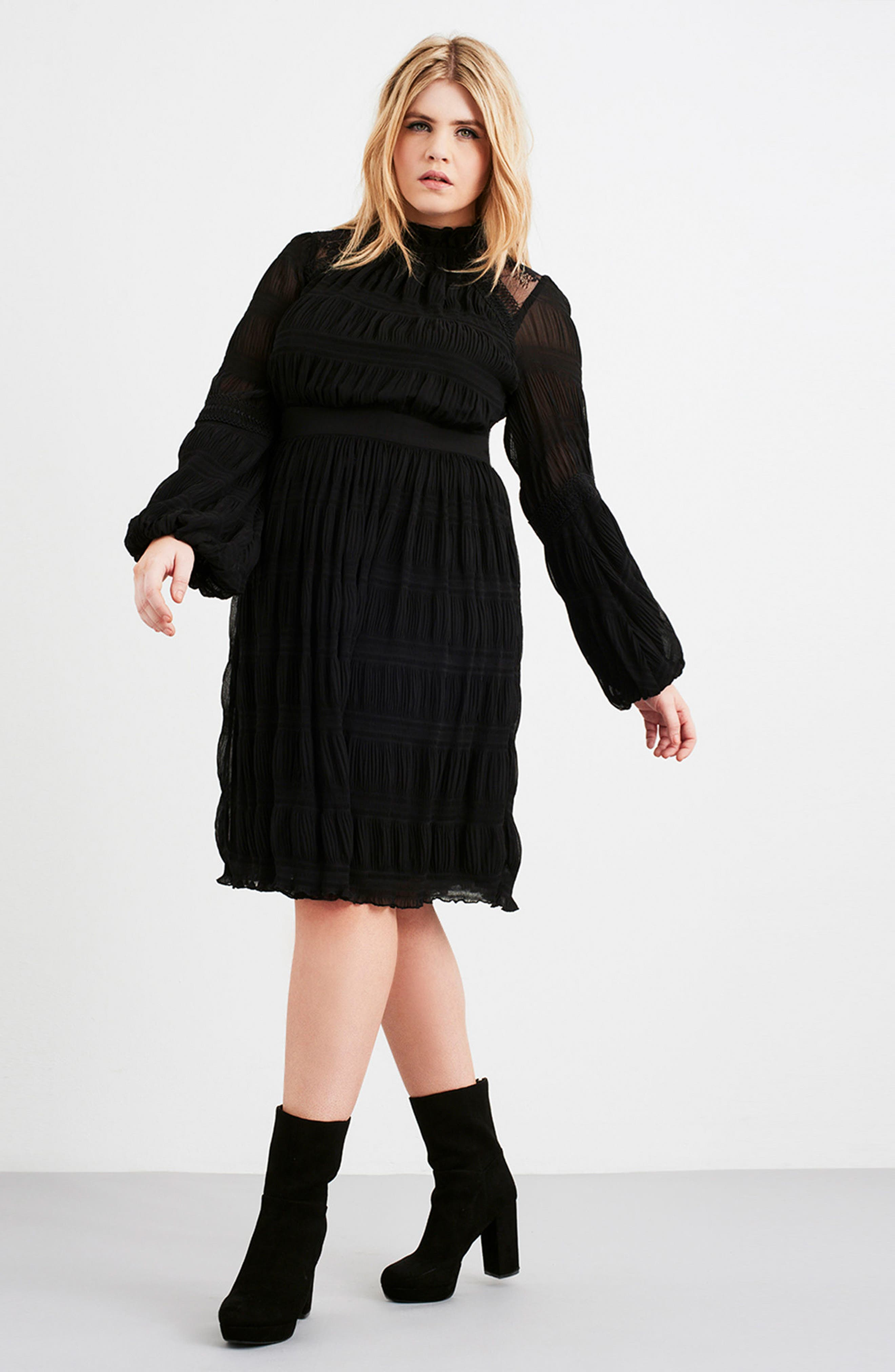Alternate Image 2  - LOST INK Lace Back Skater Dress (Plus Size)