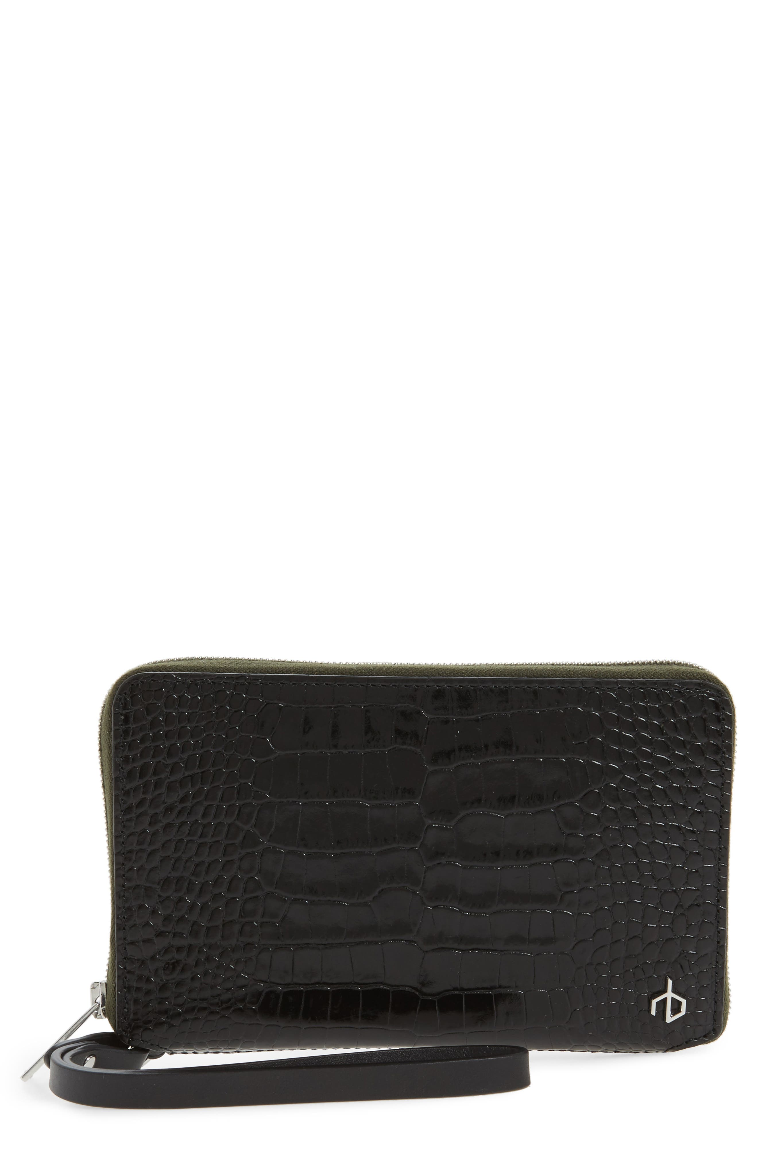Croc Embossed Leather Smartphone Wallet,                             Main thumbnail 1, color,                             Black Croco