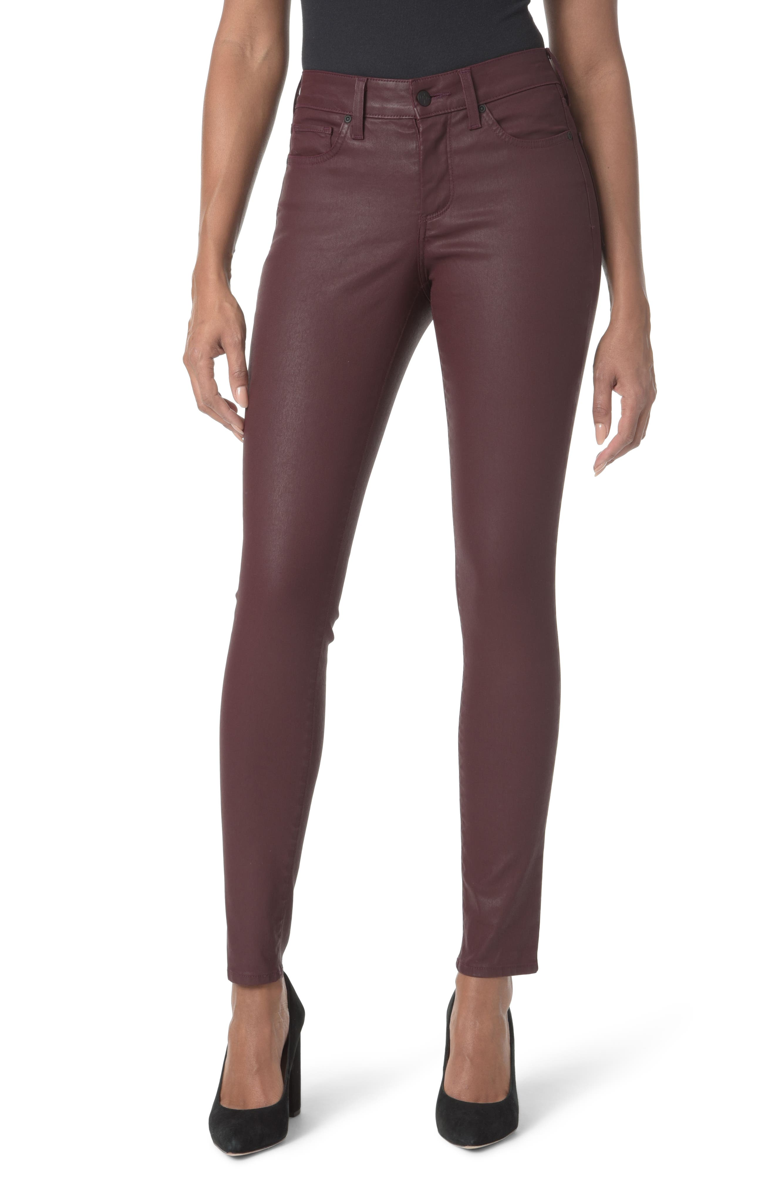 Coated Stretch Skinny Jeans,                             Main thumbnail 1, color,                             Deep Currant Coated