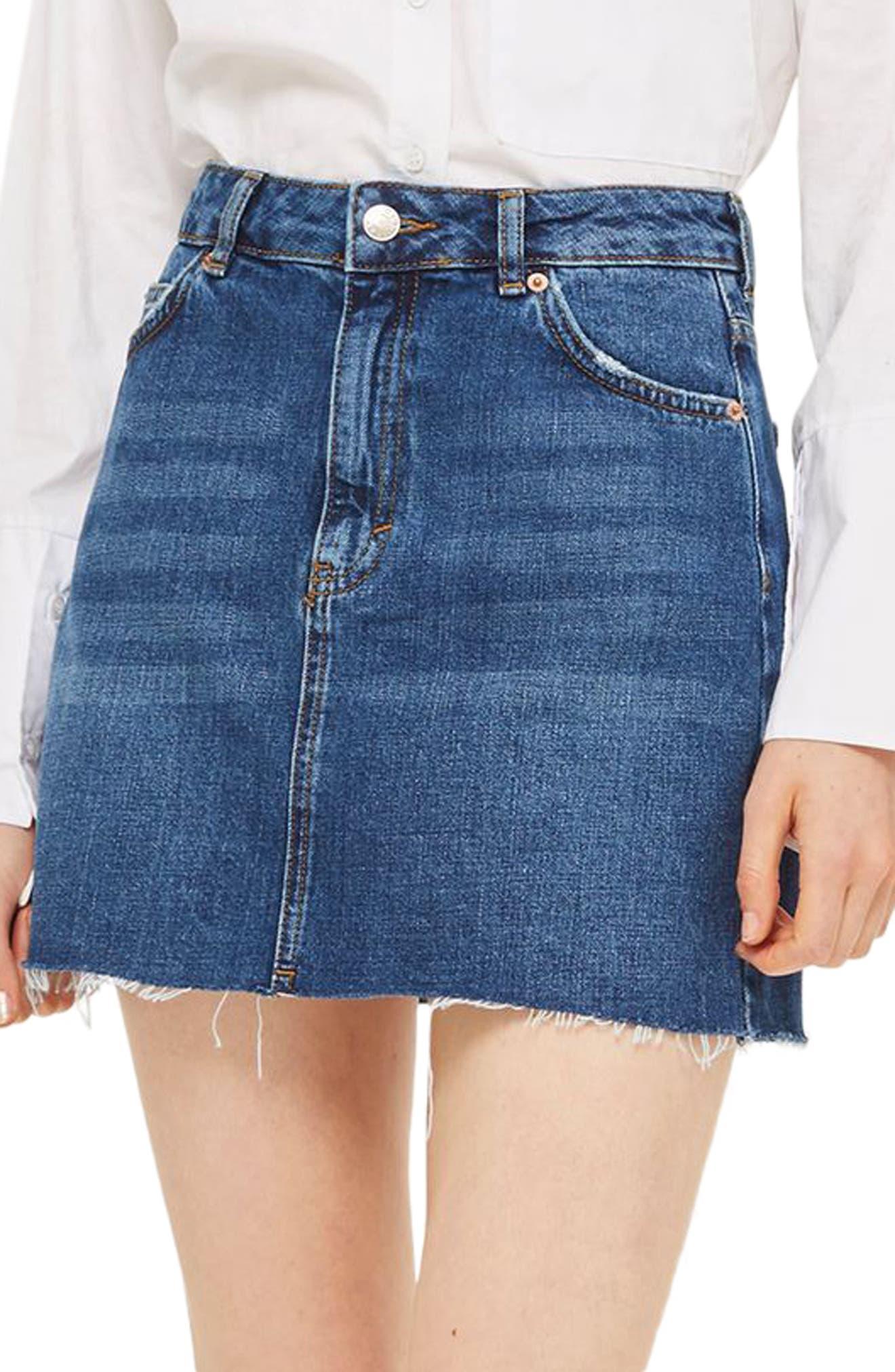Frayed Hem Denim Miniskirt,                             Main thumbnail 1, color,                             Mid Denim