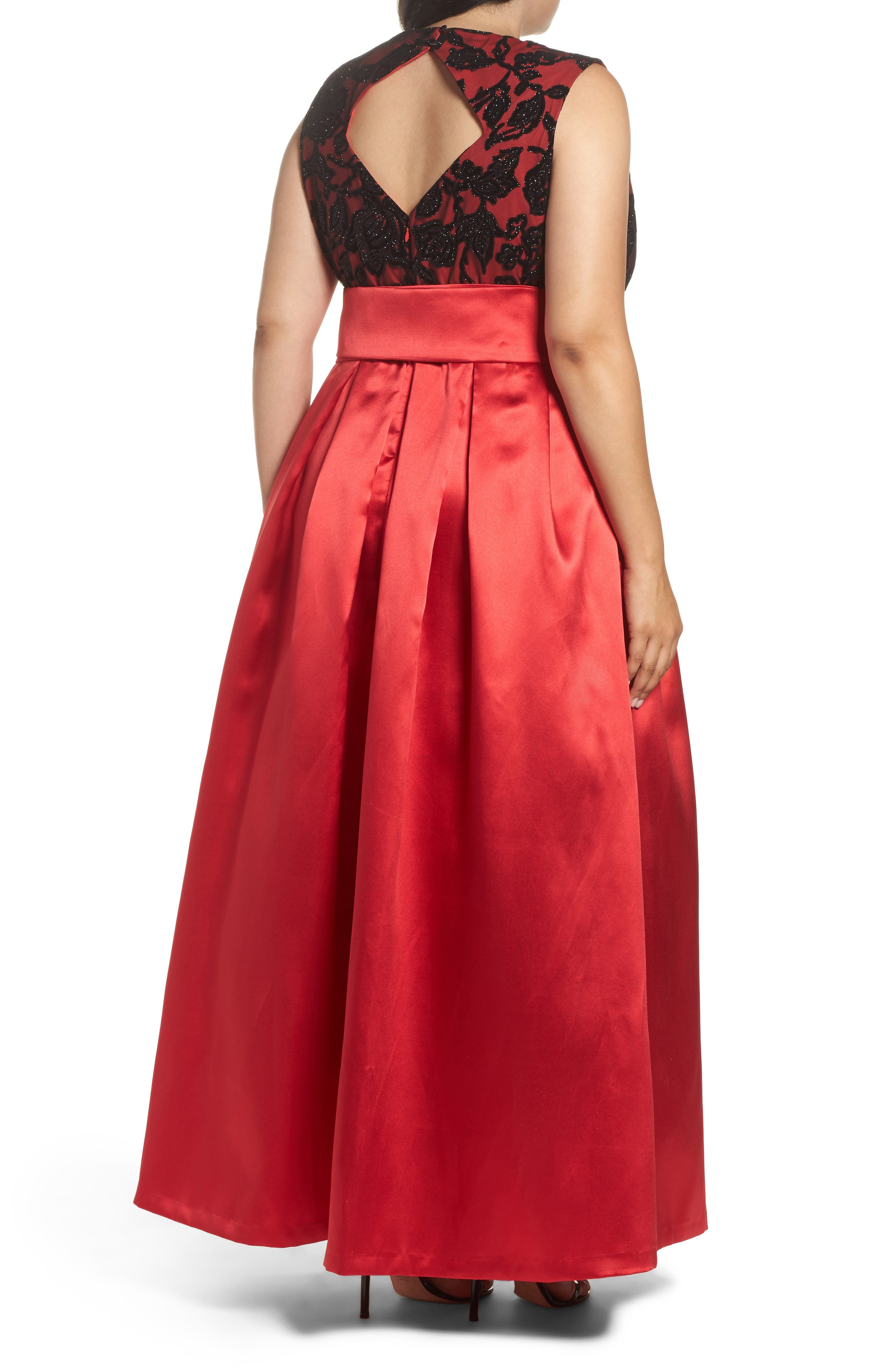 Sleeveless Lace & Satin Ballgown,                             Alternate thumbnail 2, color,                             Red