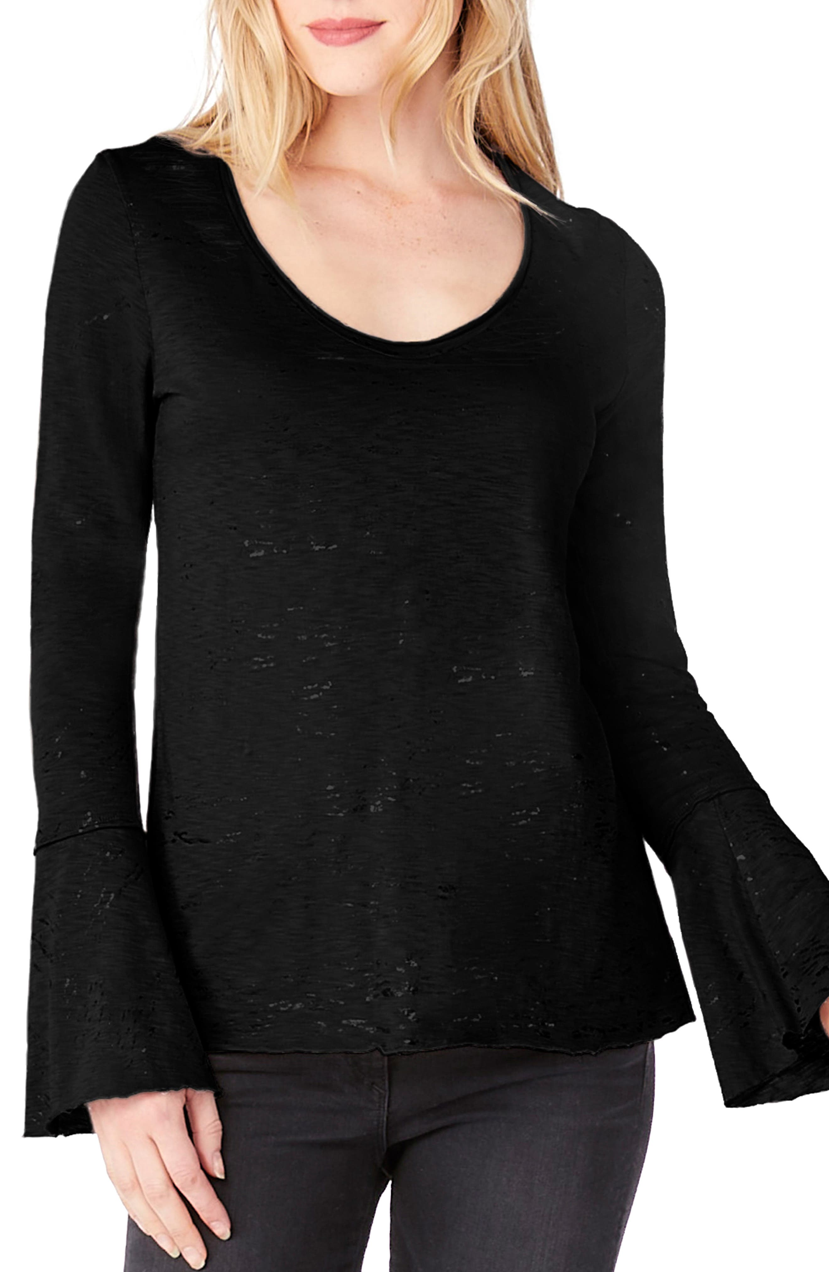 Bell Cuff Foiled Knit Top,                             Main thumbnail 1, color,                             Black