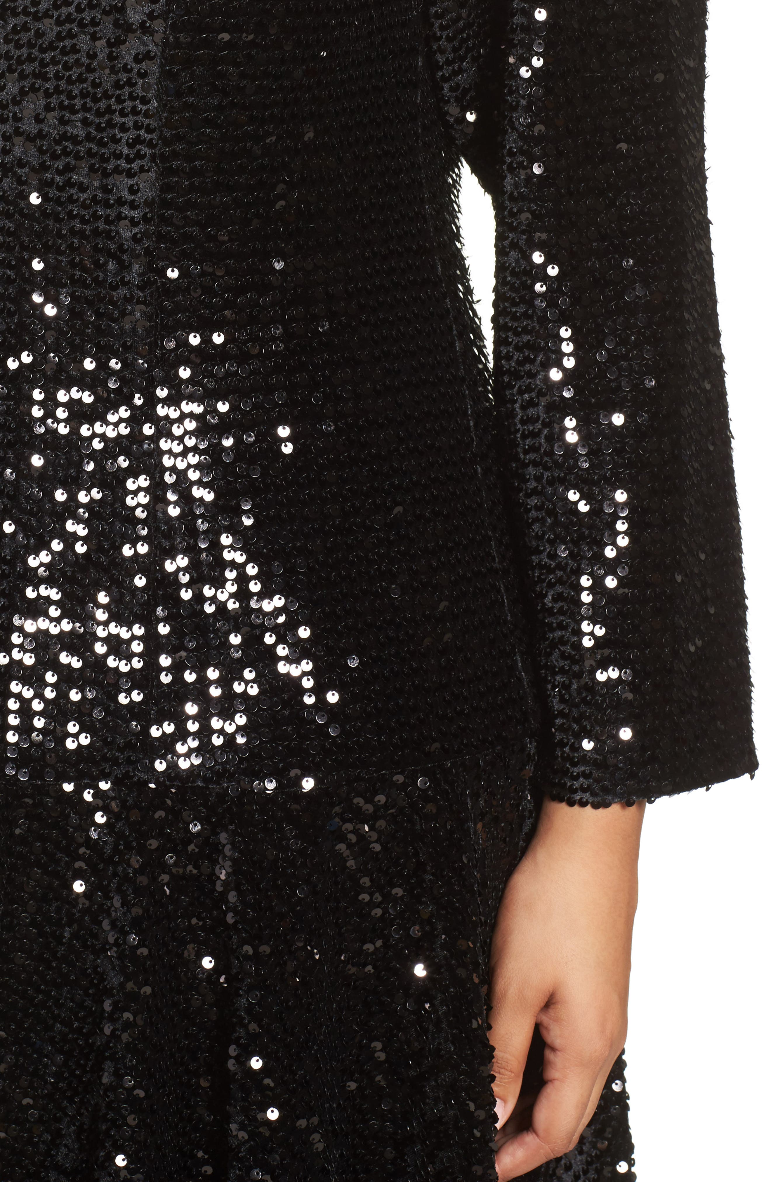 Alternate Image 4  - Eliza J Sequin Drop Waist Dress (Plus Size)