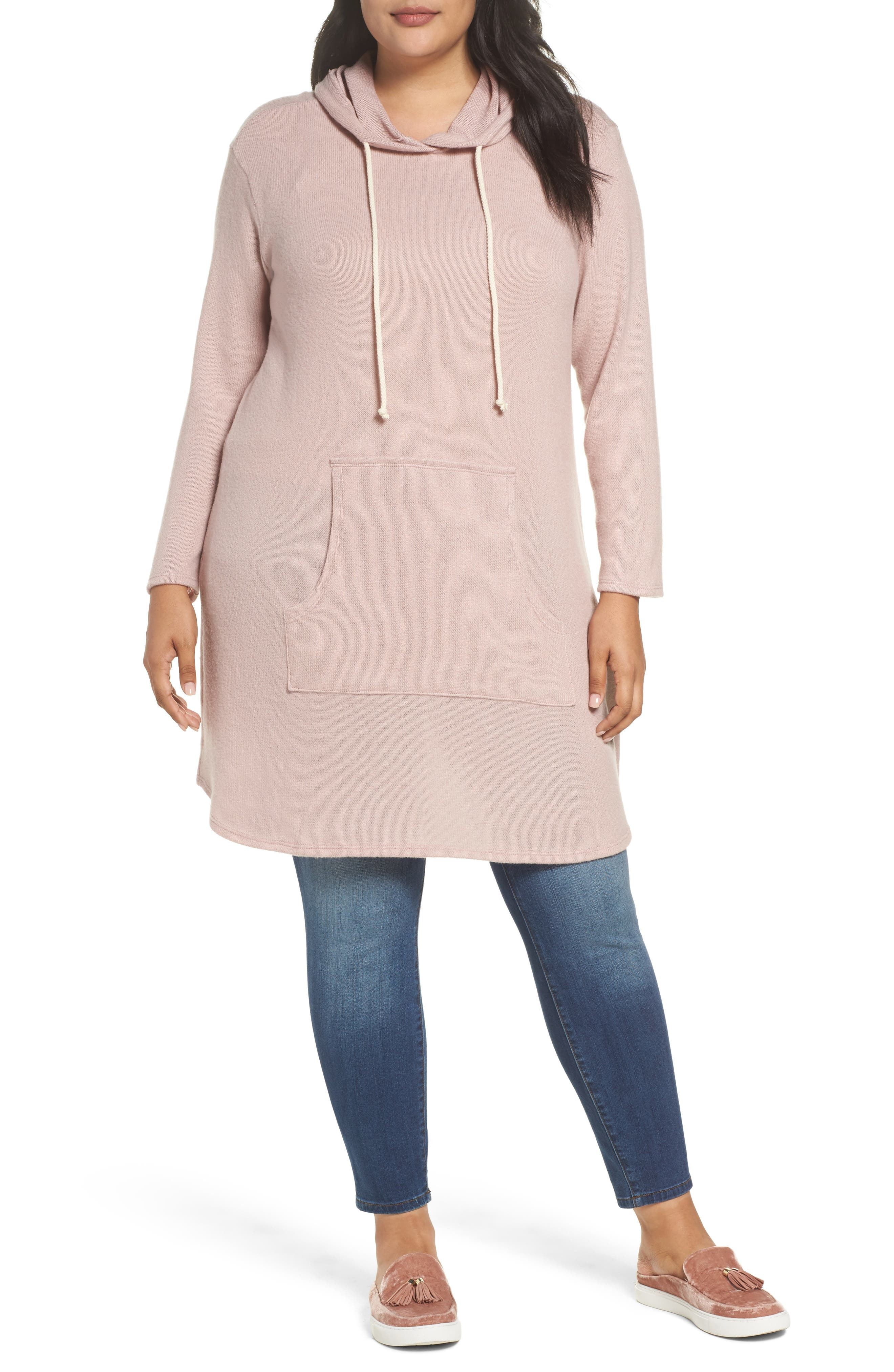 Hooded Knit Tunic,                         Main,                         color, Pink Adobe