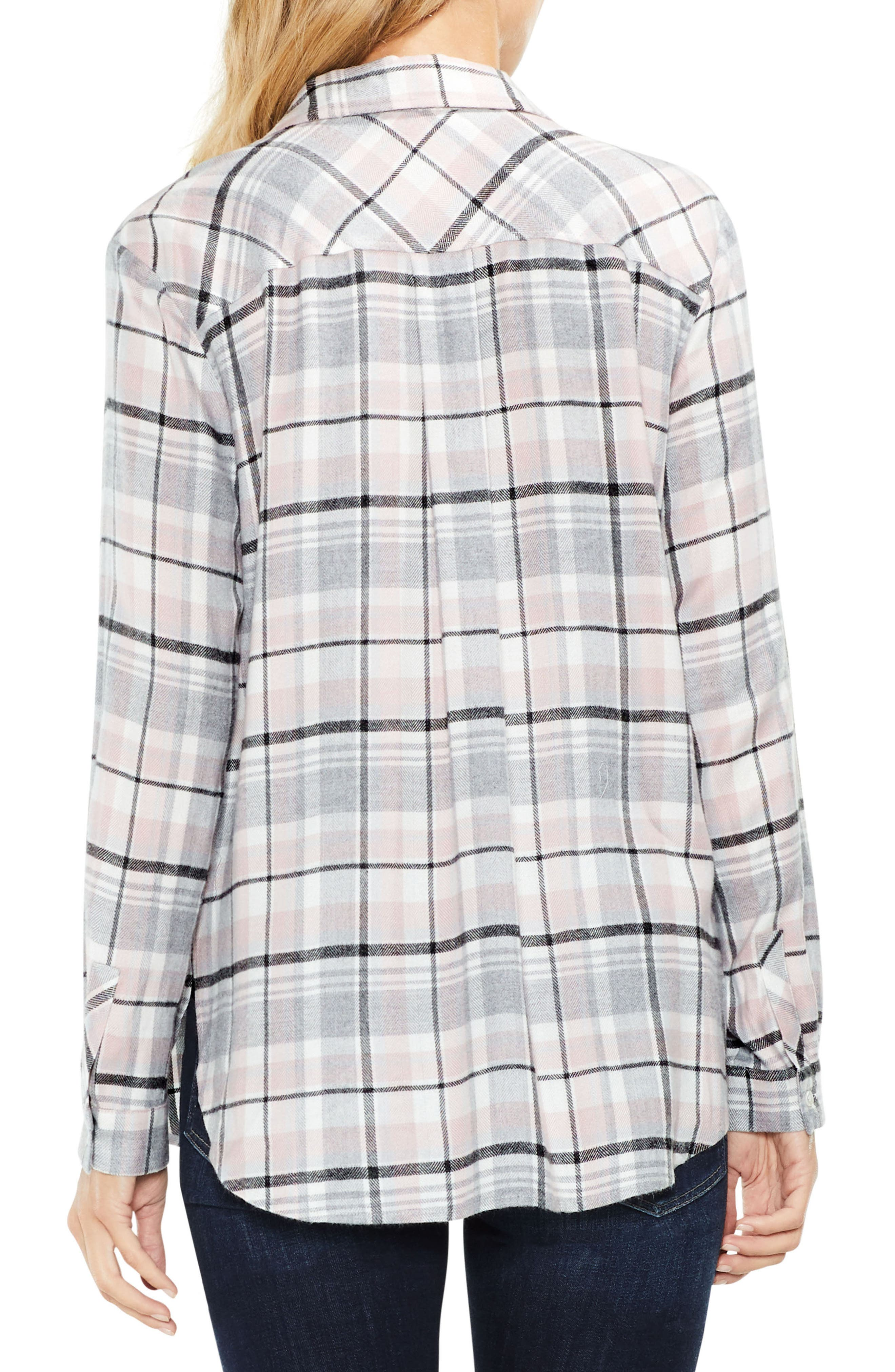 Alternate Image 2  - Two by Vince Camuto Split Sleeve Rustic Plaid Top