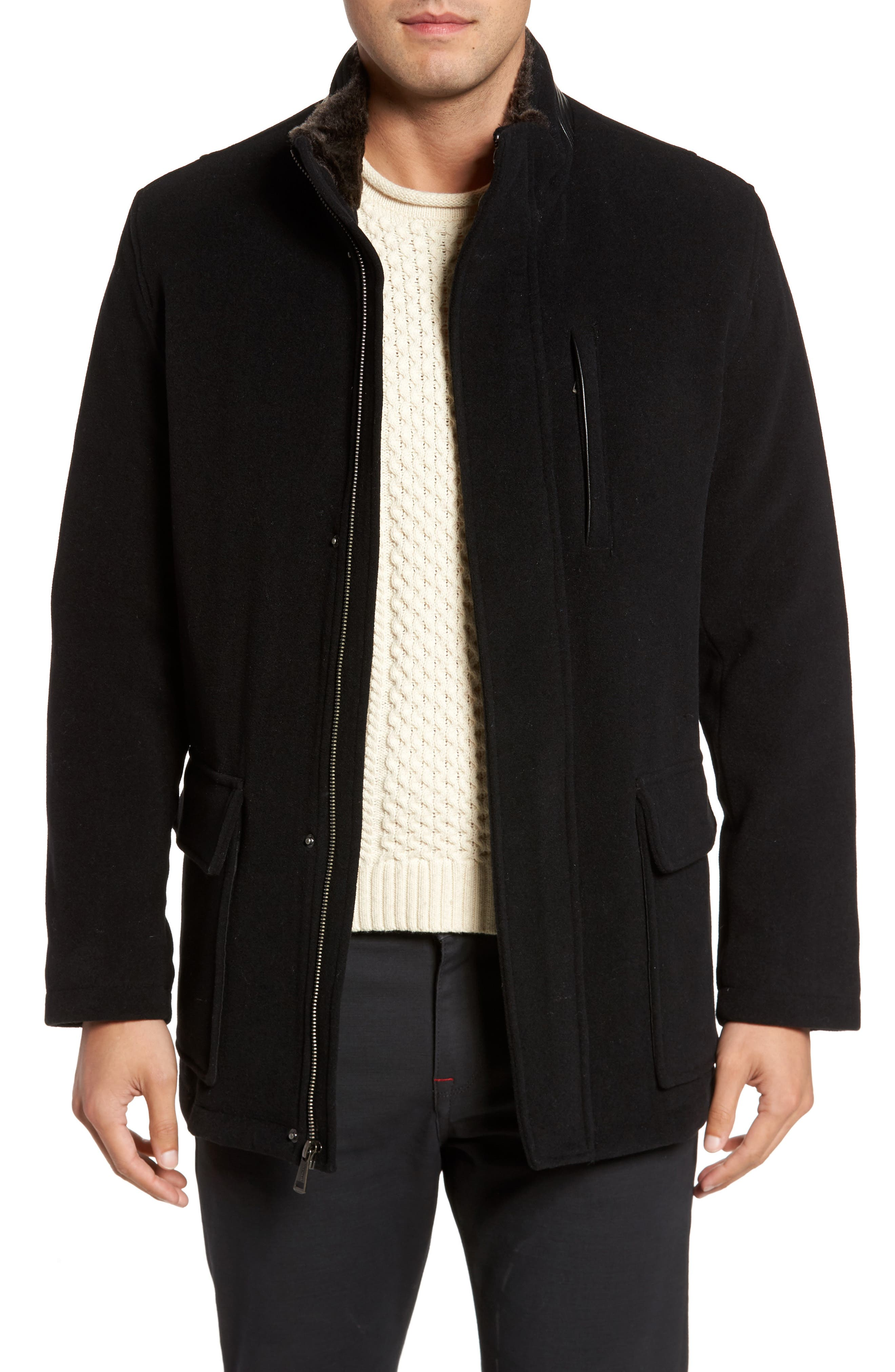 Faux Fur Collar Wool Blend Parka,                             Main thumbnail 1, color,                             Black
