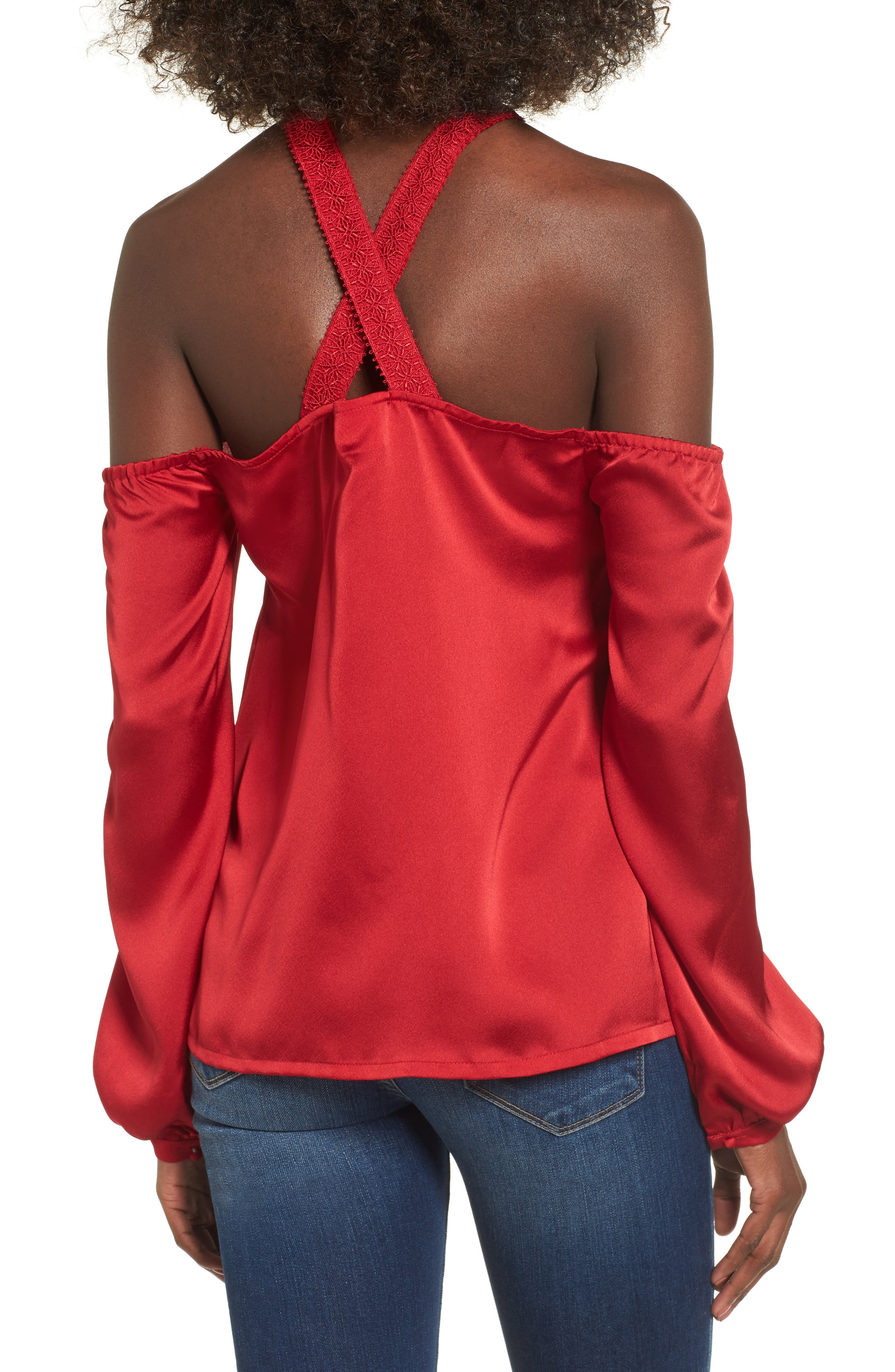 Evening Sun Cold Shoulder Blouse,                             Alternate thumbnail 2, color,                             Red