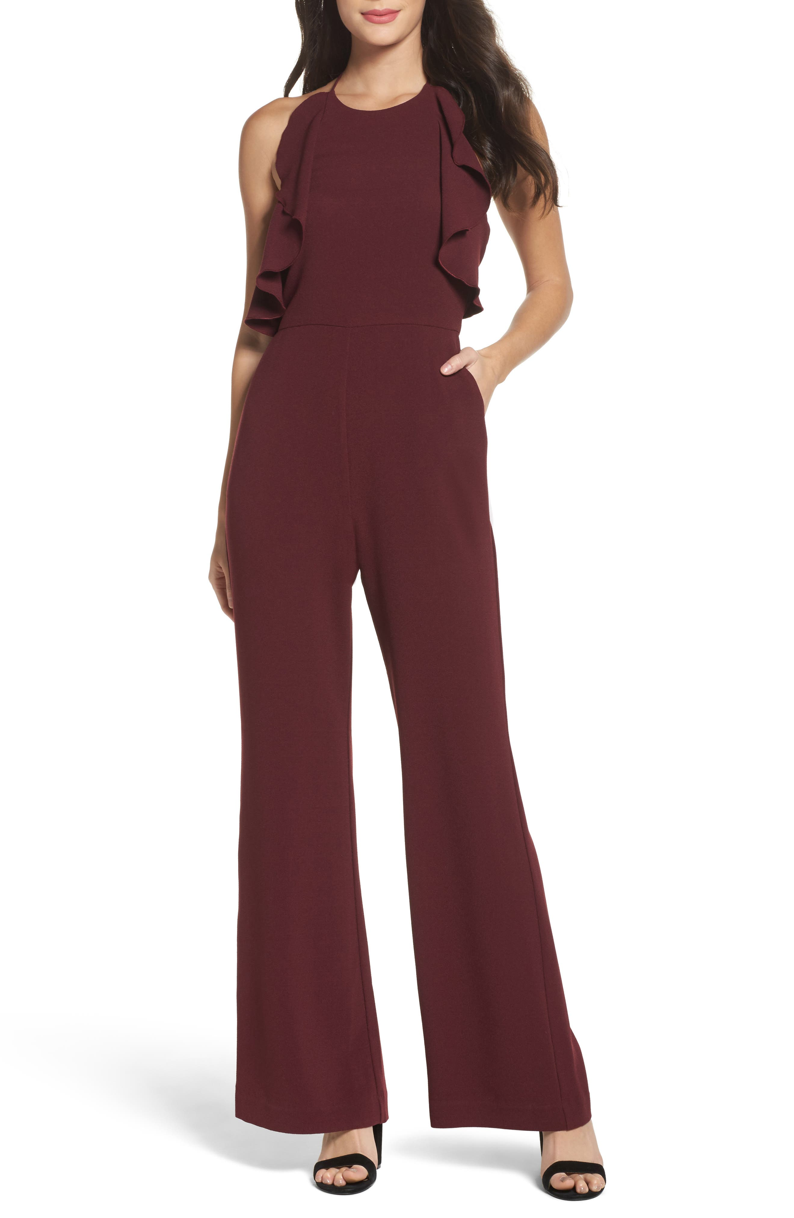 Ruffle Halter Jumpsuit,                             Main thumbnail 1, color,                             Raisin