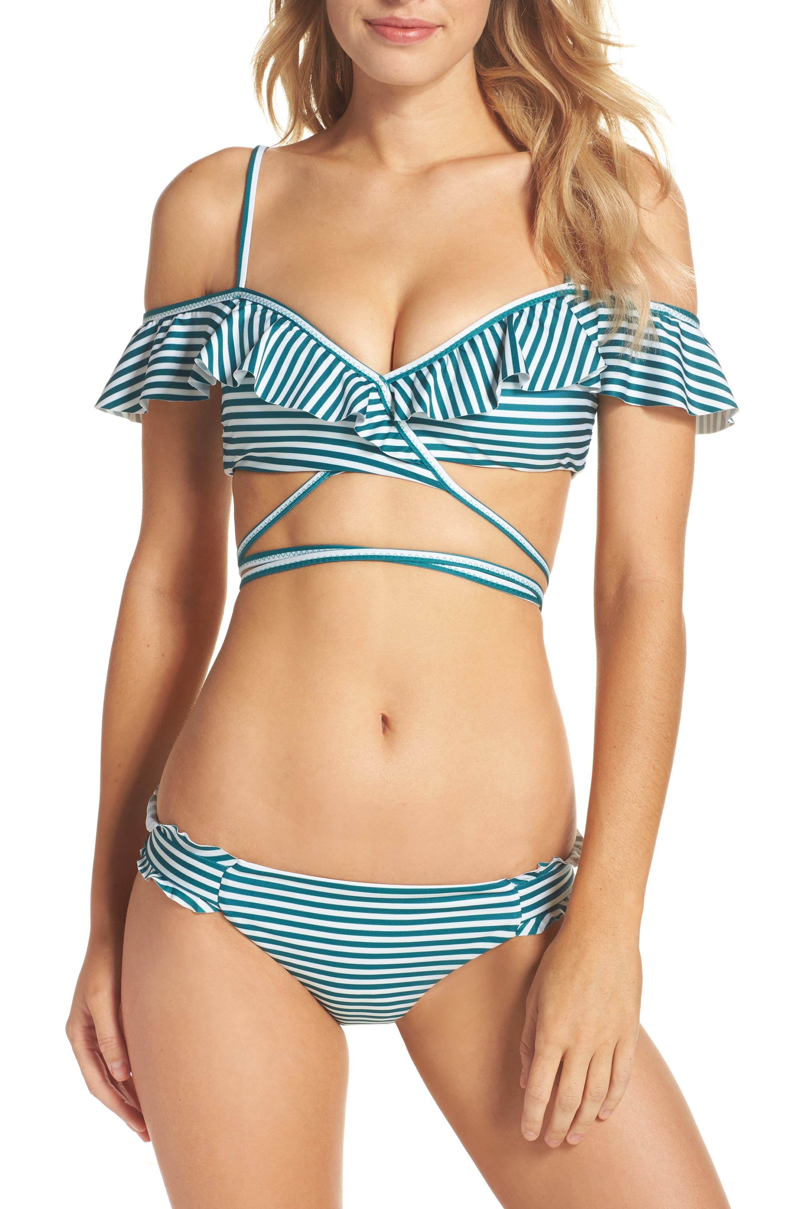 Avalon Ruffle Bikini Bottoms,                             Alternate thumbnail 7, color,                             Black/ White