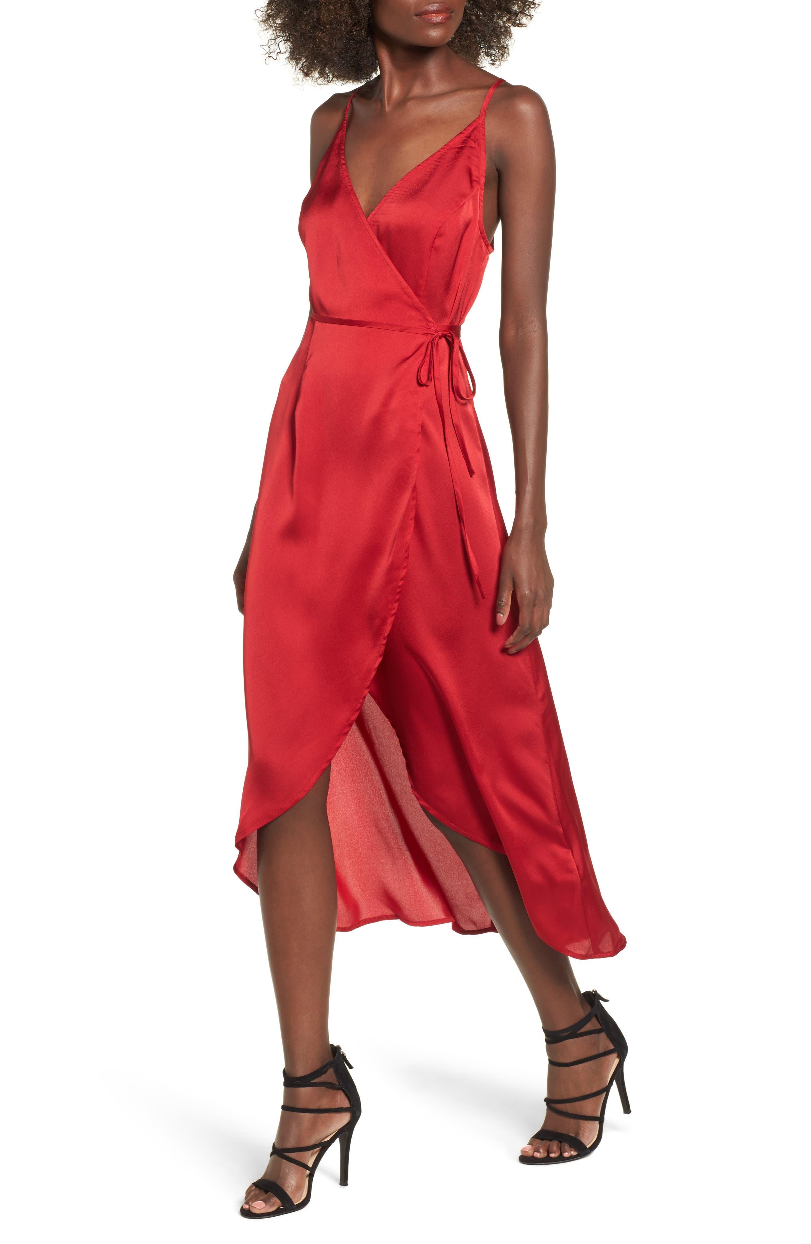 Evening Sun Satin Wrap Dress,                         Main,                         color, Red
