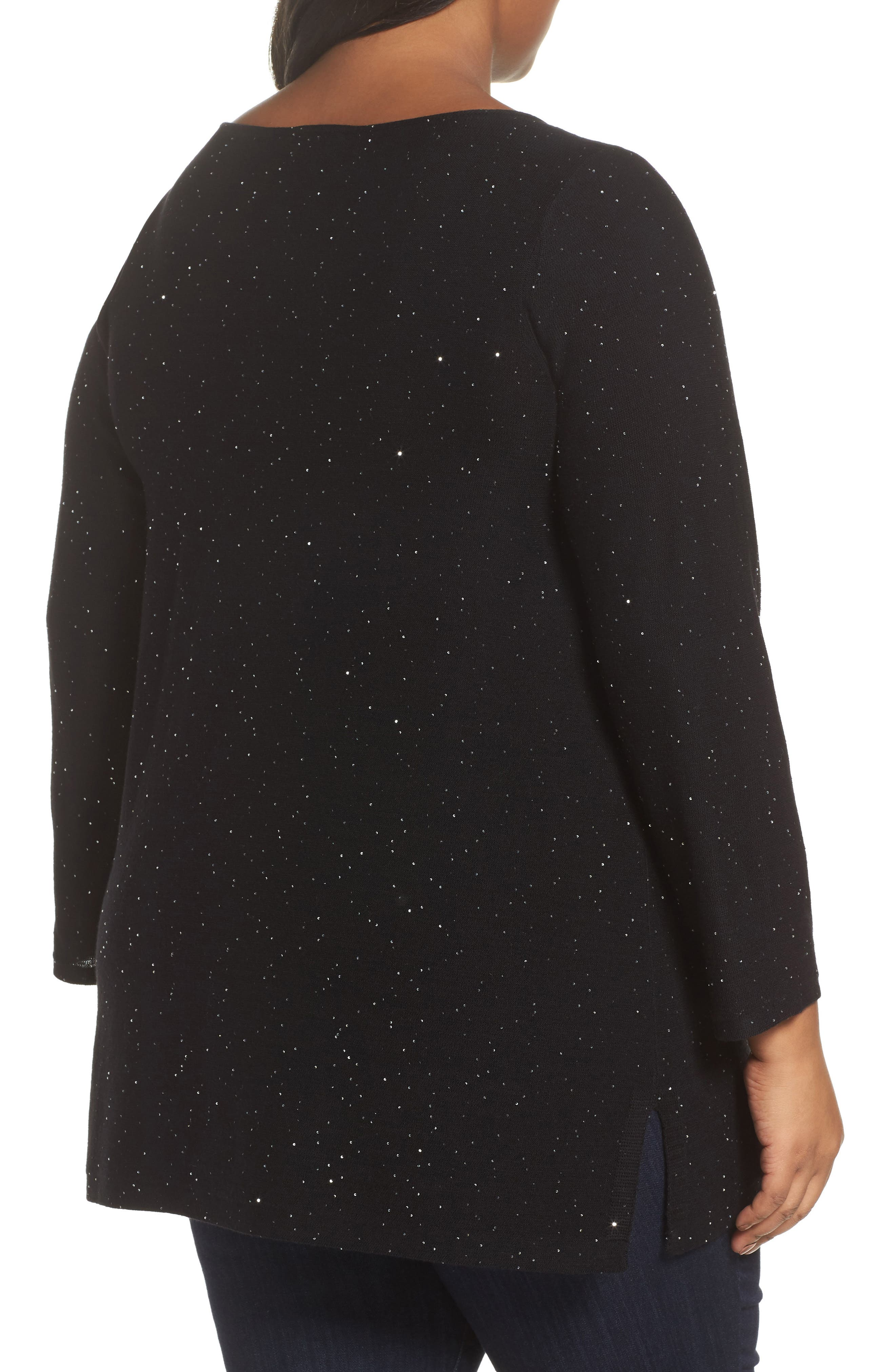 Sequin Merino Wool Tunic Sweater,                             Alternate thumbnail 2, color,                             Black