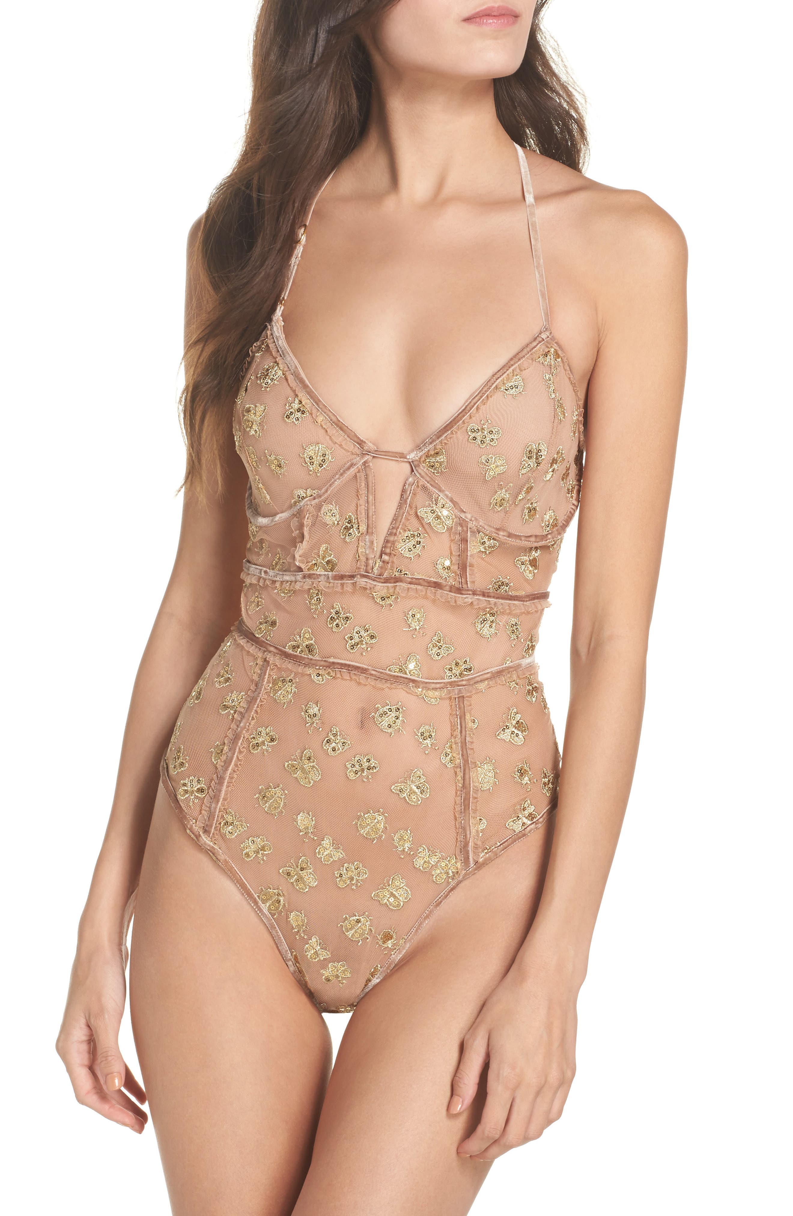 Golden Garden Embroidered Bodysuit,                             Main thumbnail 1, color,                             Bee