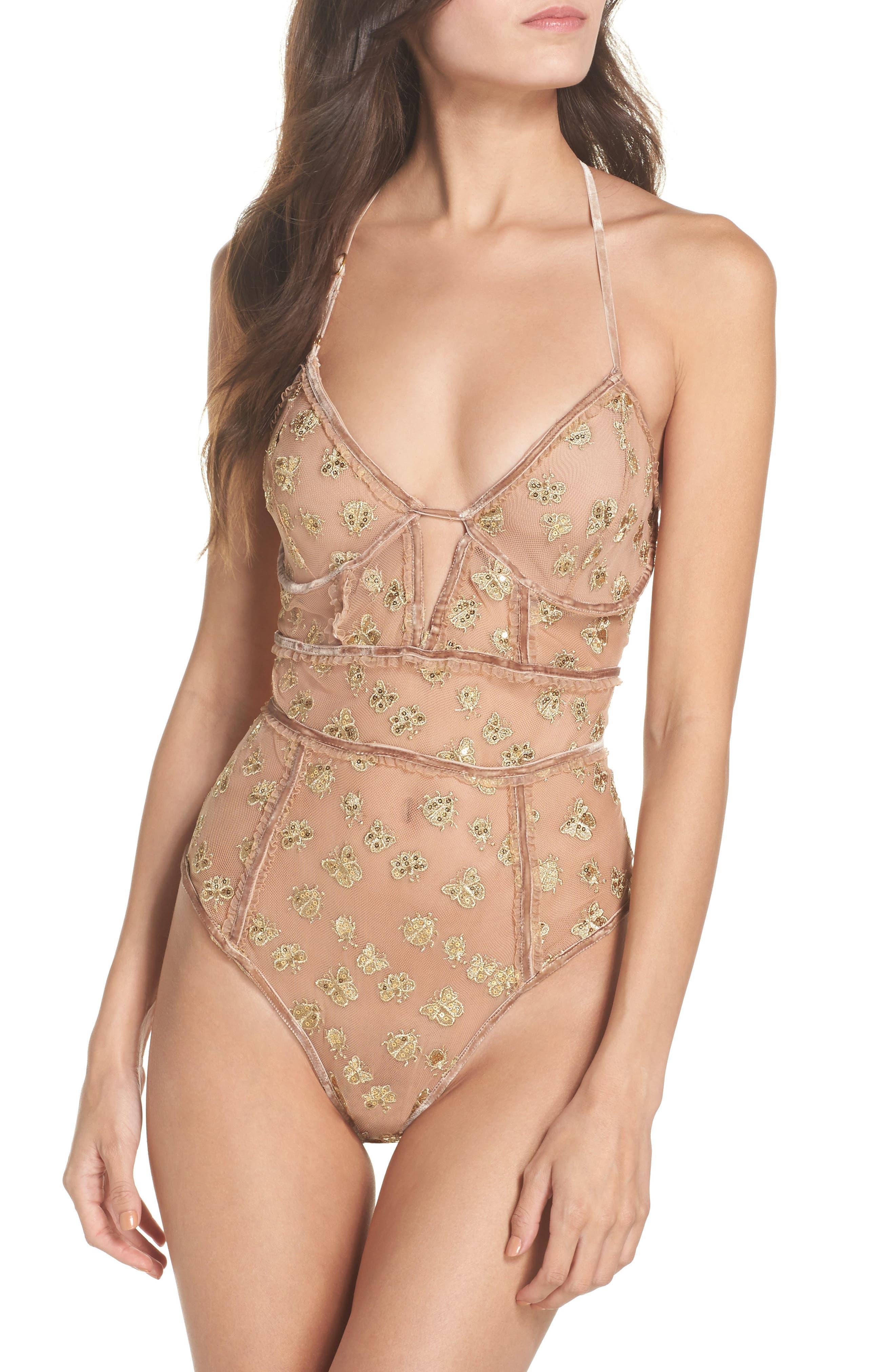 Main Image - For Love & Lemons Golden Garden Embroidered Bodysuit
