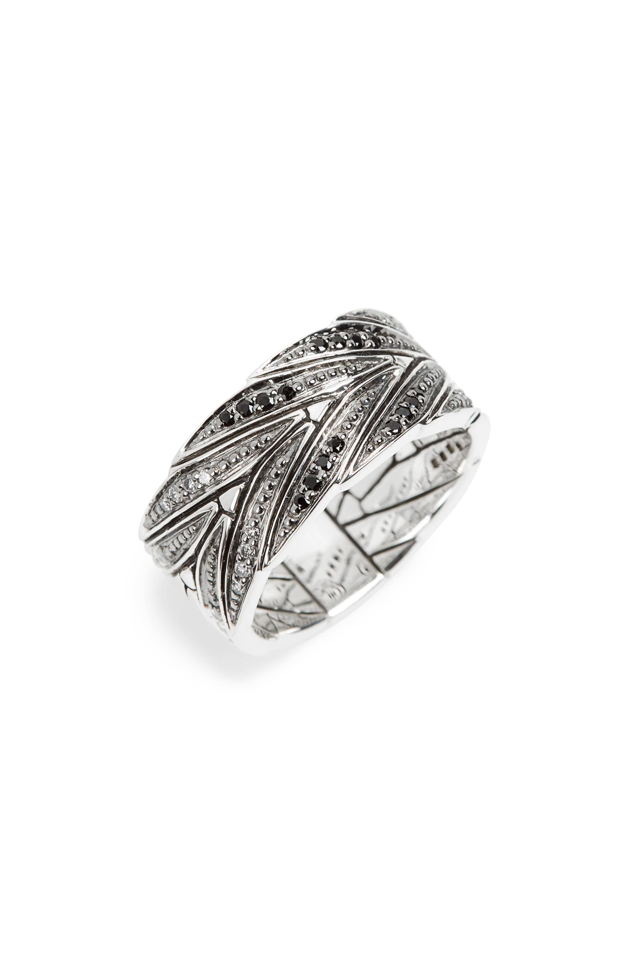 Modern Chain Diamond Pavé Band Ring,                         Main,                         color, Silver/Black Sapphire/Diamond