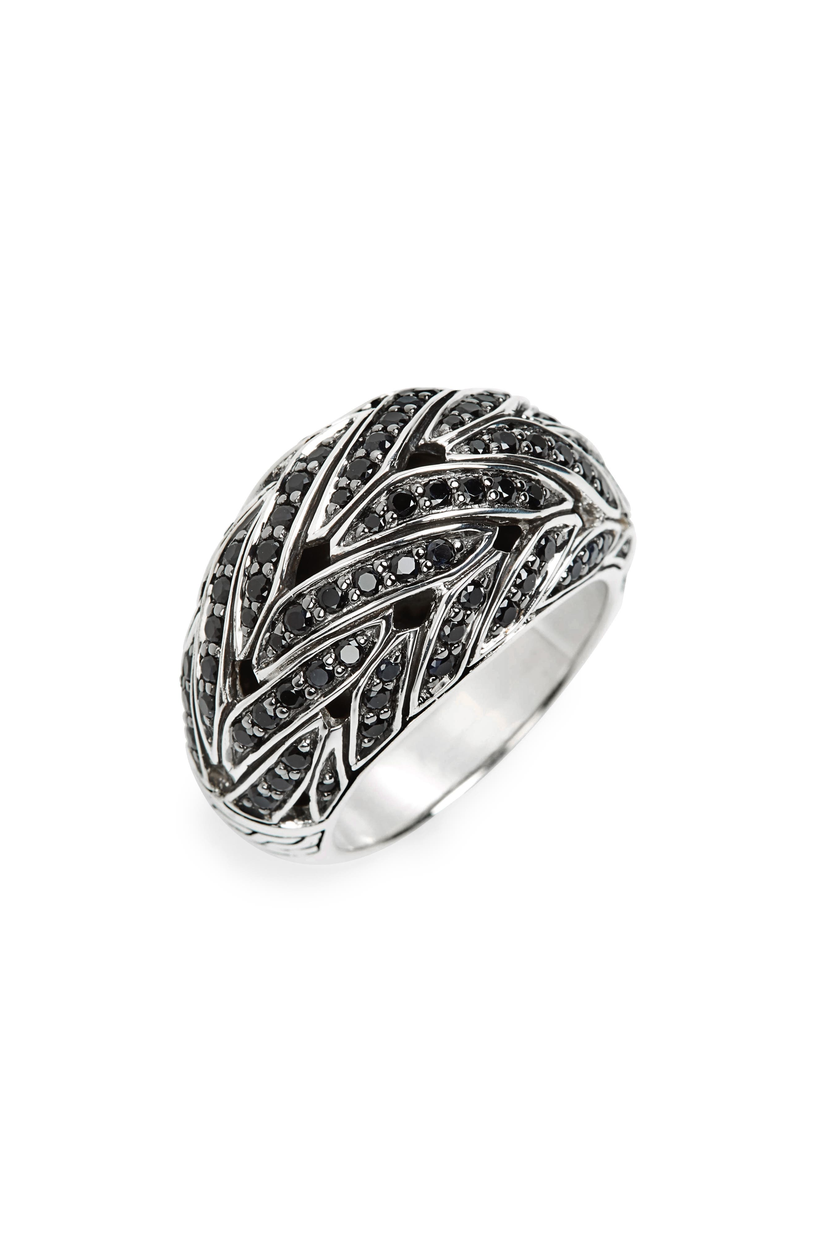 Classic Chain Dome Ring,                             Main thumbnail 1, color,                             Silver/ Black Sapphire