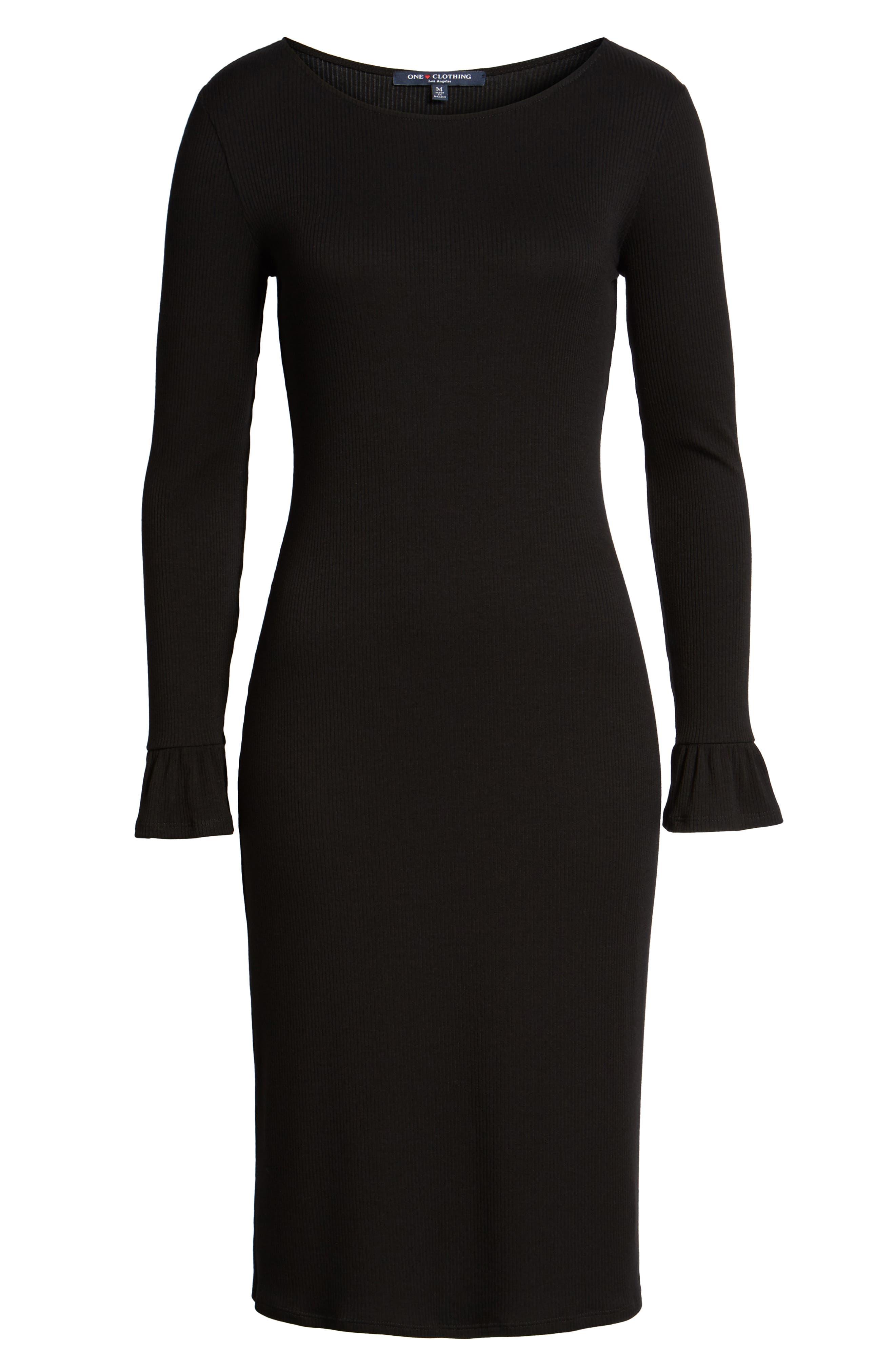 Alternate Image 6  - One Clothing Ruffle Sleeve Ribbed Midi Dress