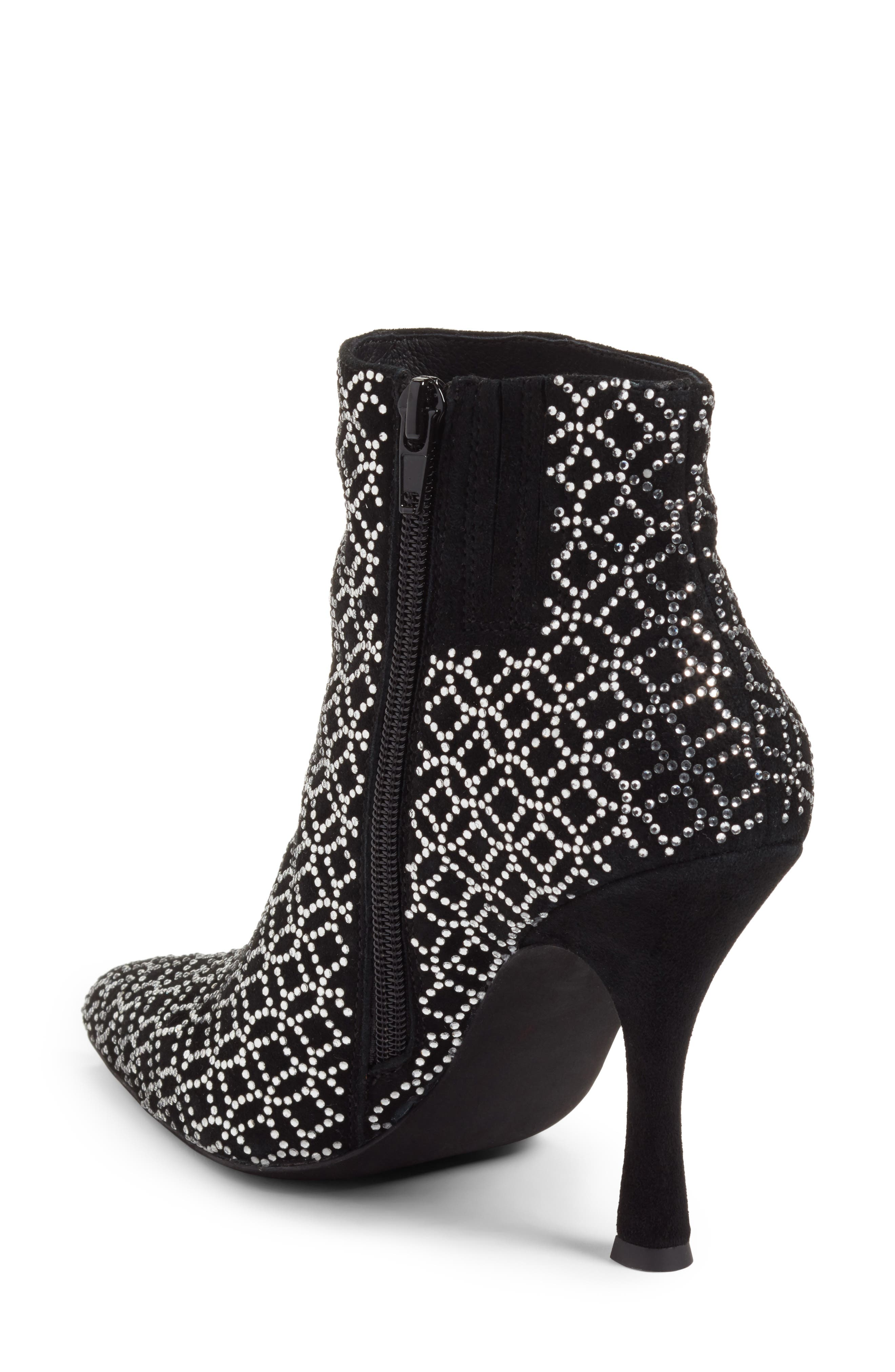 Brillo Crystal Embellished Bootie,                             Alternate thumbnail 3, color,                             Black Suede Silver