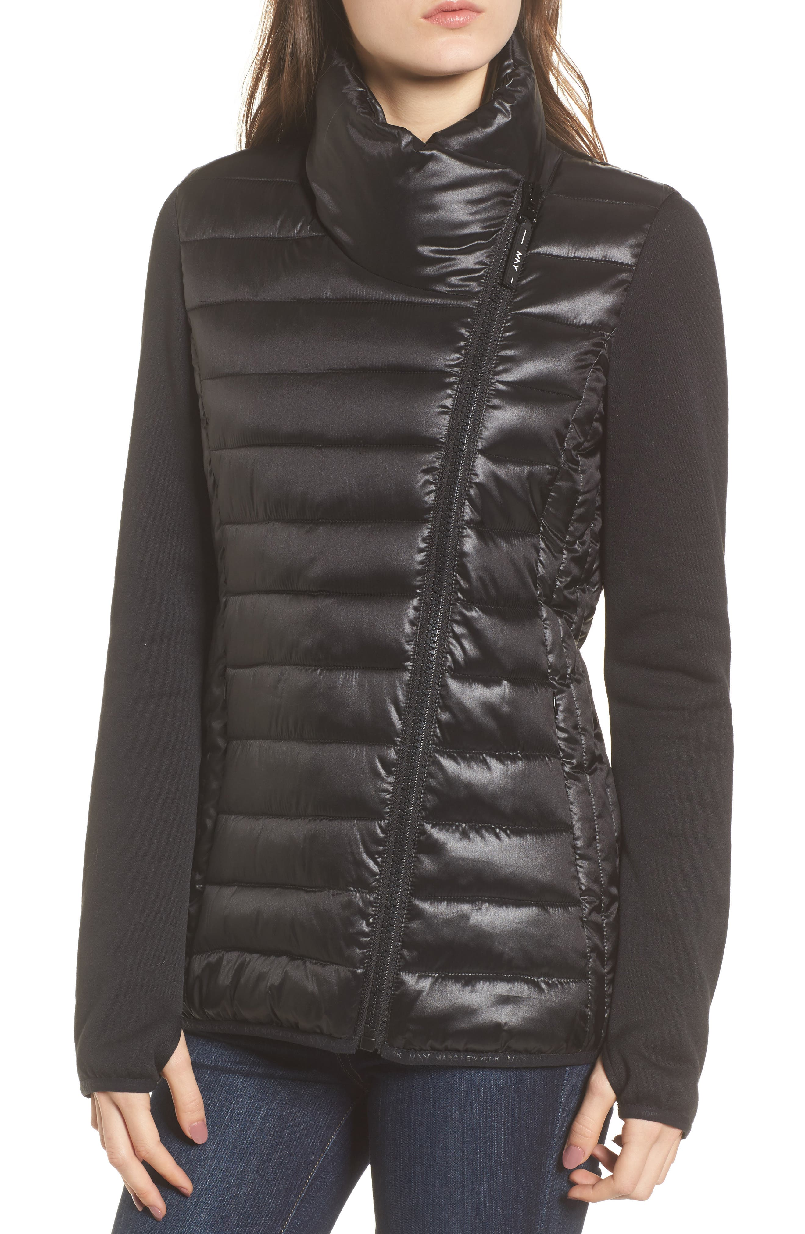 Knit Sleeve Packable Puffer Jacket,                             Alternate thumbnail 4, color,                             Black