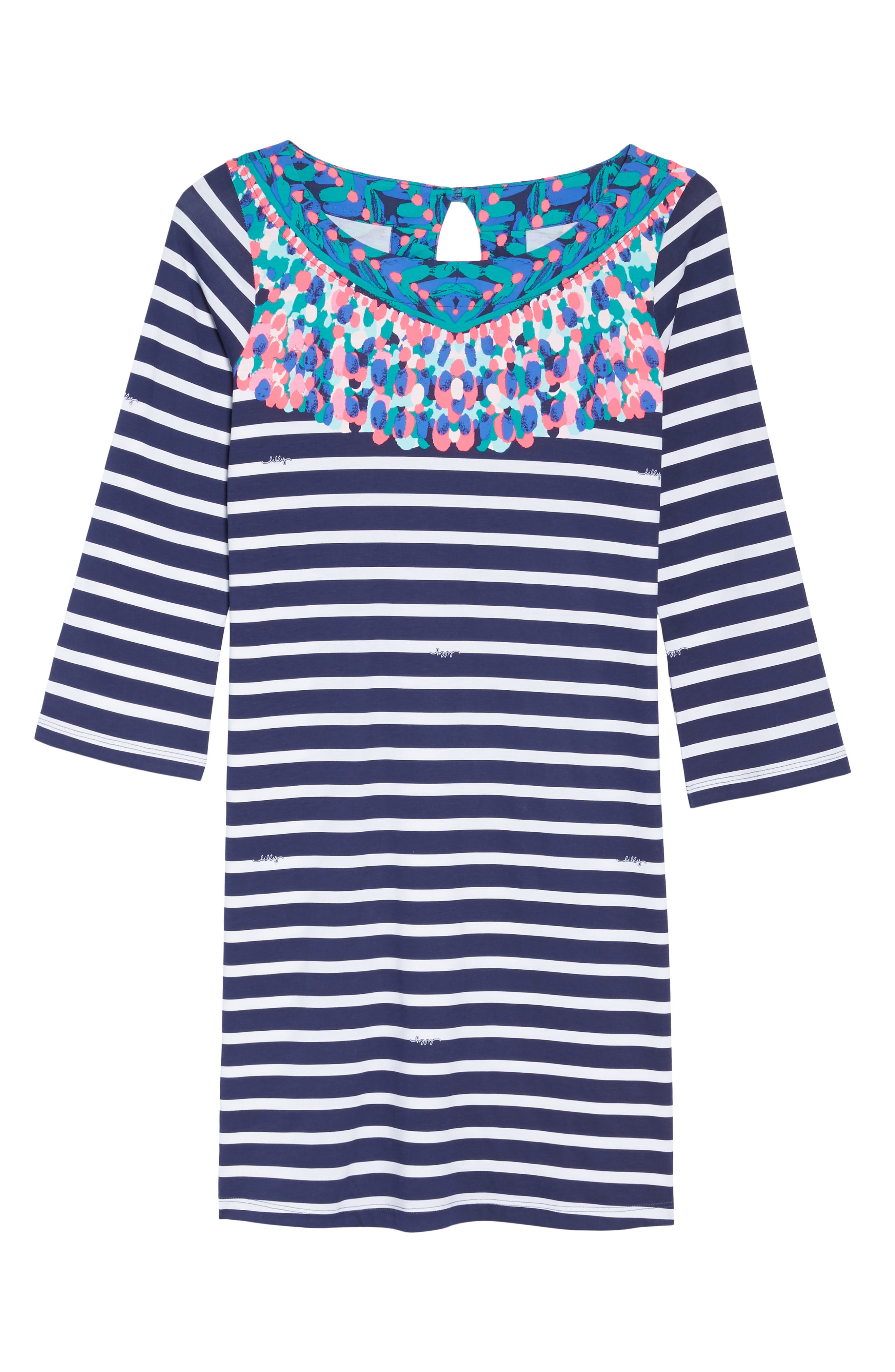 Bay Shift Dress,                             Alternate thumbnail 6, color,                             Bright Navy Island Medallion