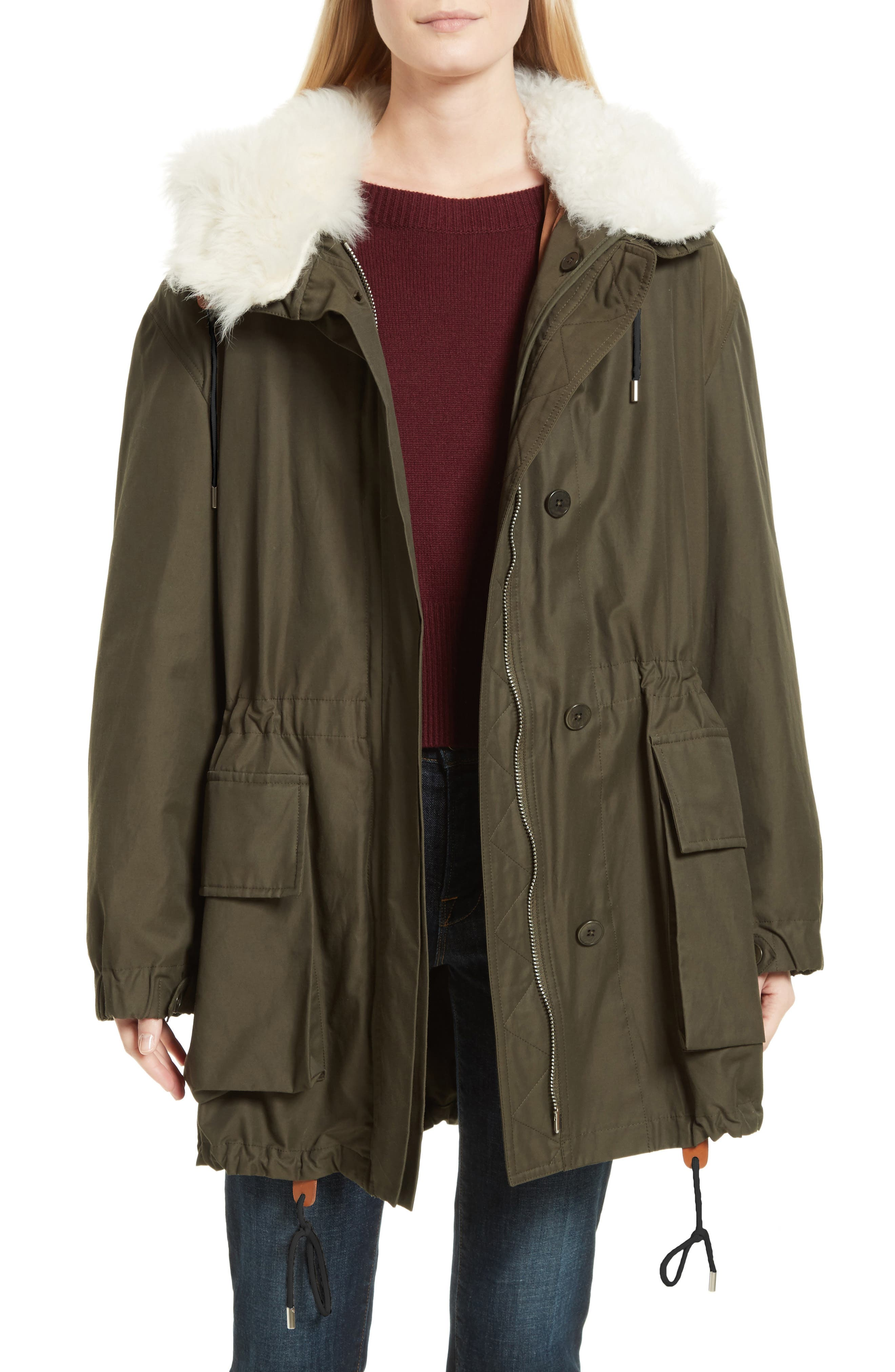 Main Image - Theory Sharya Technical Crisp Genuine Shearling Trim Parka