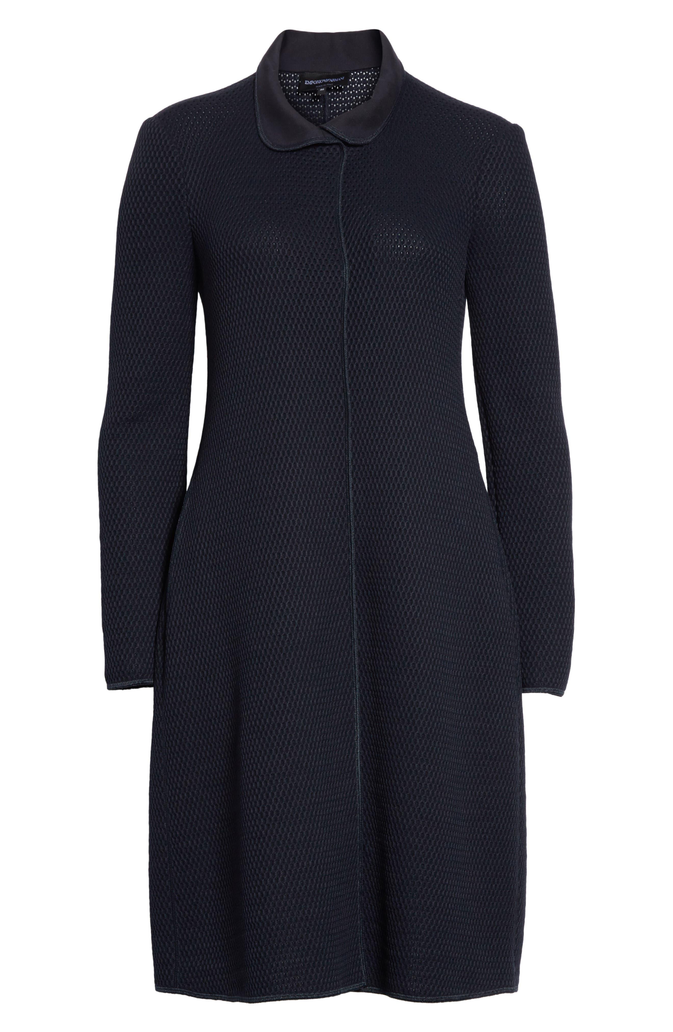 Honeycomb Knit Jersey Coat,                             Alternate thumbnail 6, color,                             Navy