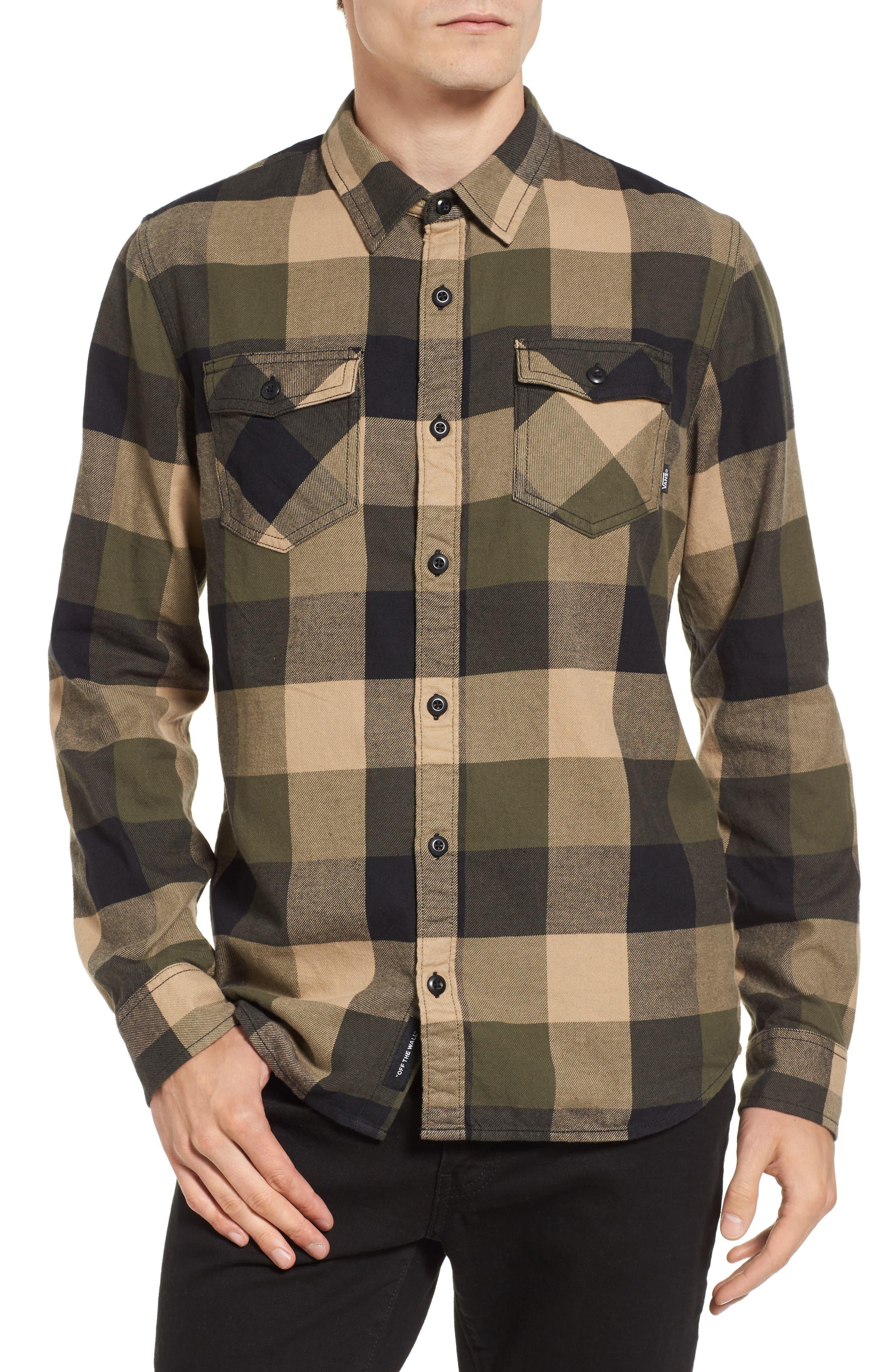 Trim Fit Check Flannel Woven Shirt,                         Main,                         color, Grape Leaf/ Khaki
