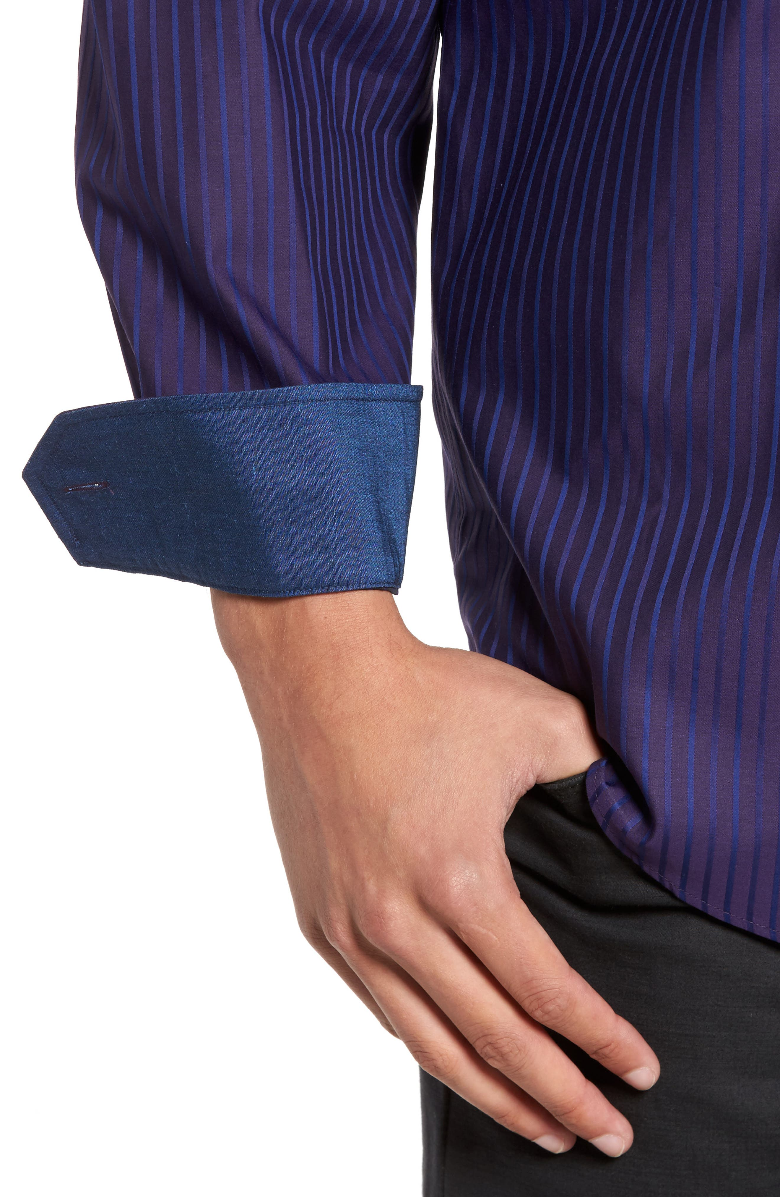 Alternate Image 4  - Bugatchi Classic Fit Stripe Sport Shirt