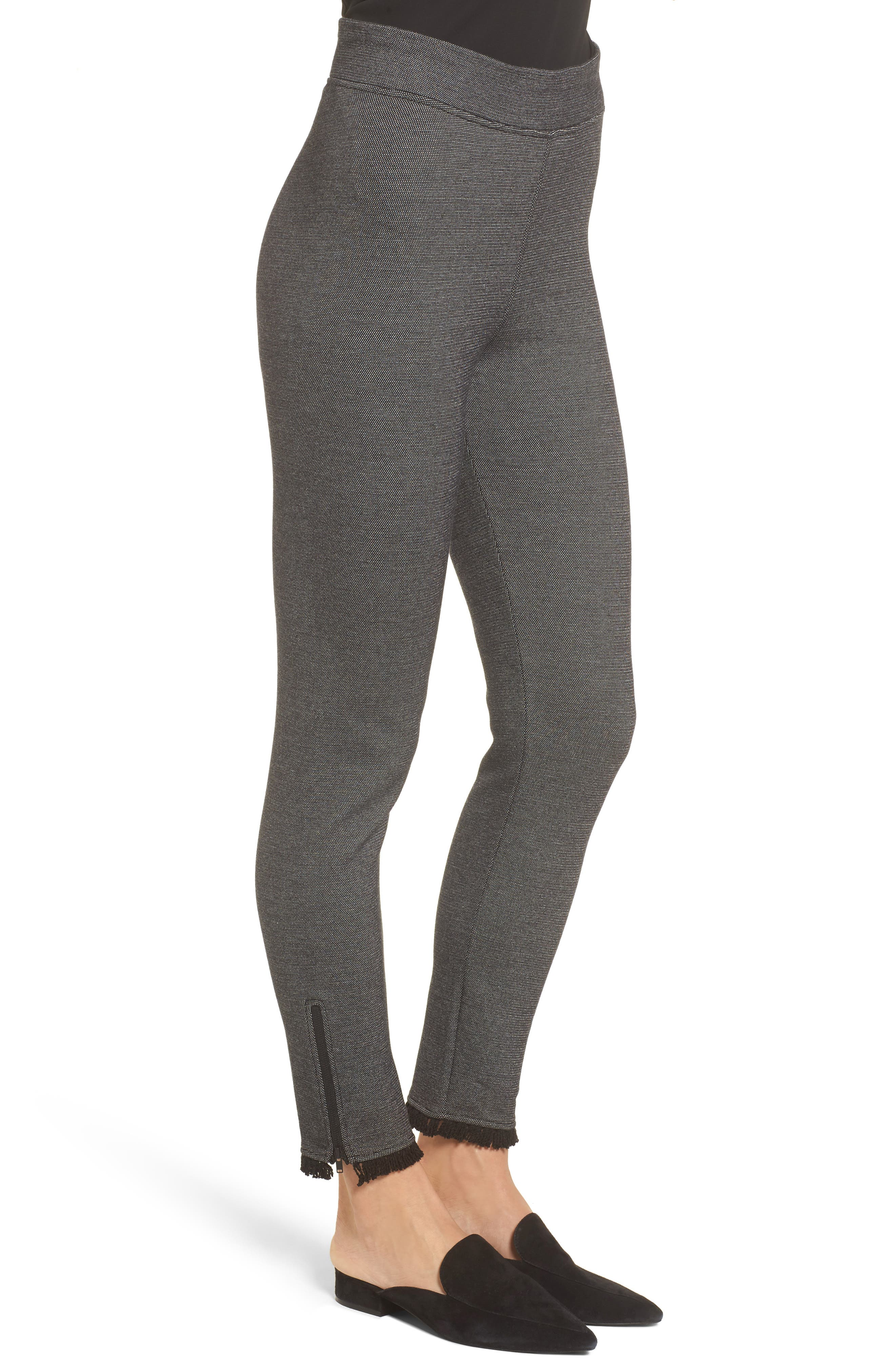 Fringe Hem Leggings,                             Alternate thumbnail 3, color,                             Grey Mix