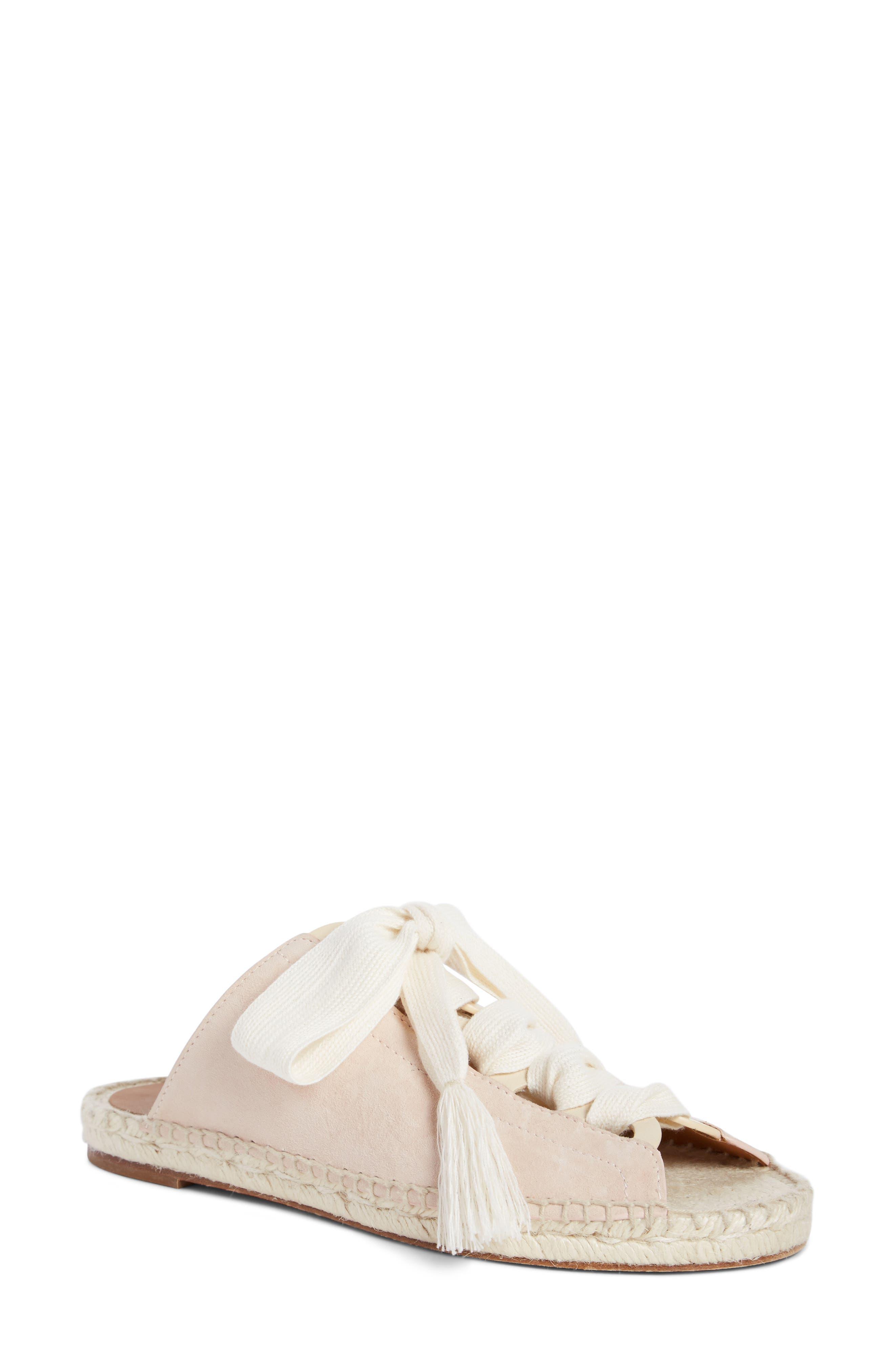 Harper Lace-Up Espadrille Slide Sandal,                         Main,                         color, Maple Pink