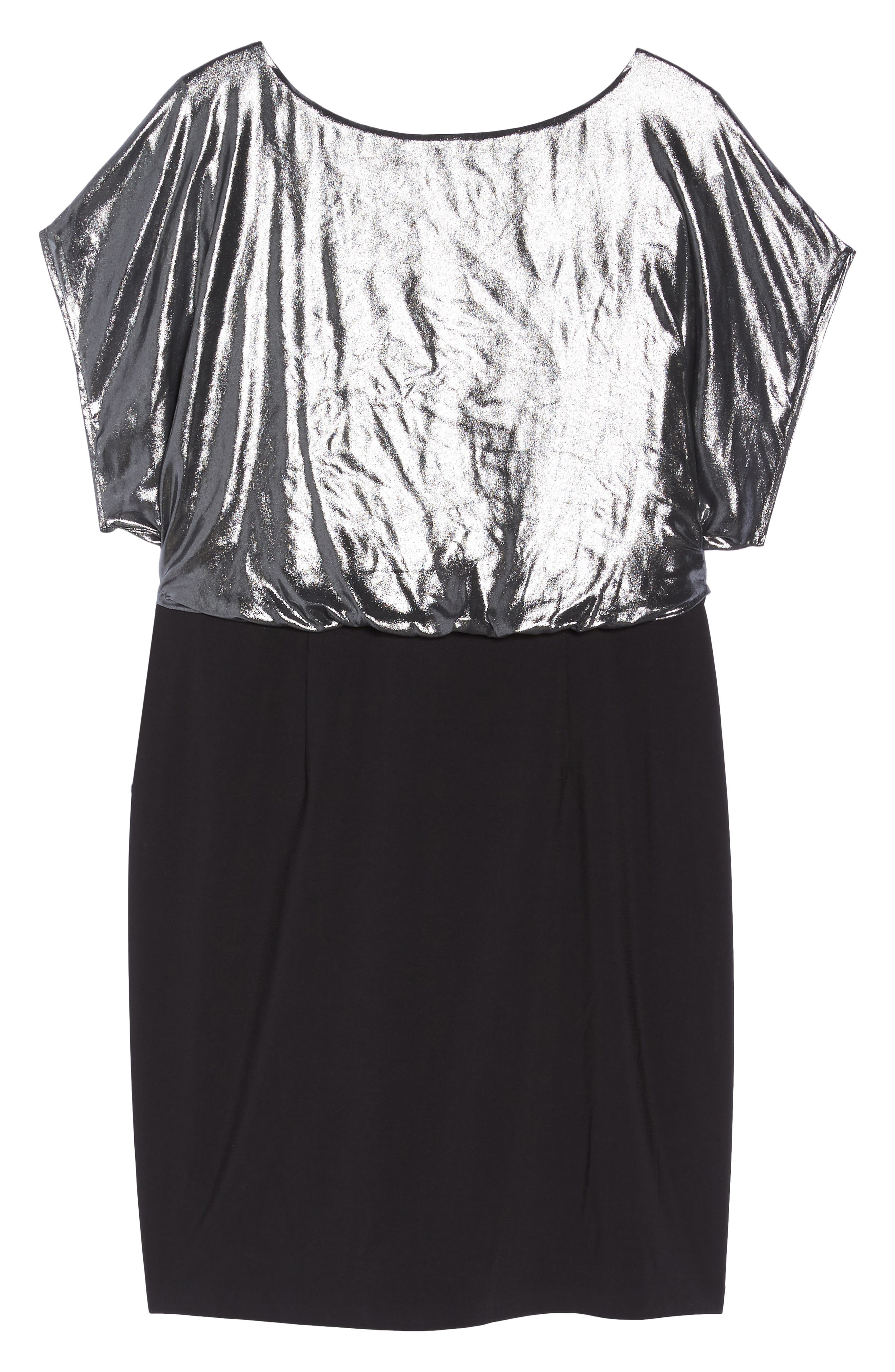 Foiled Blouson Dress,                             Alternate thumbnail 6, color,                             Gunmetal/ Black