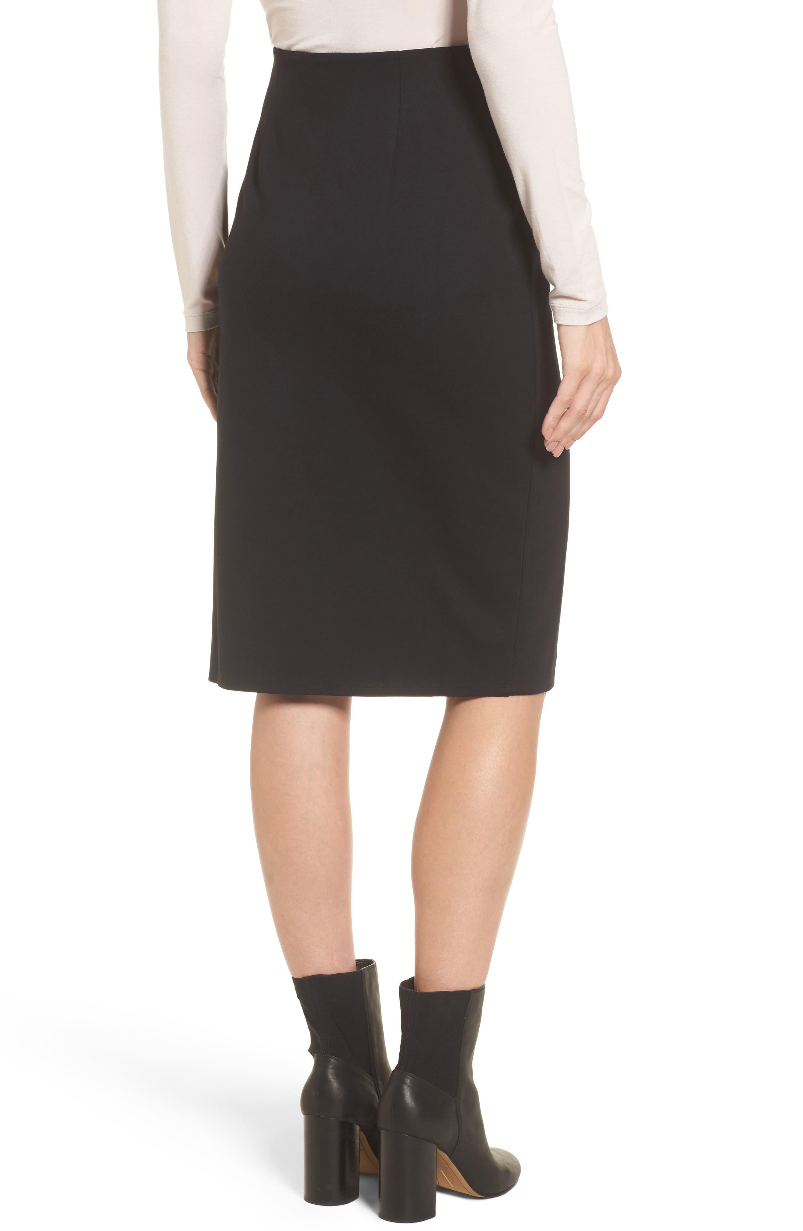 High Waist Knit Skirt,                             Alternate thumbnail 2, color,                             Black
