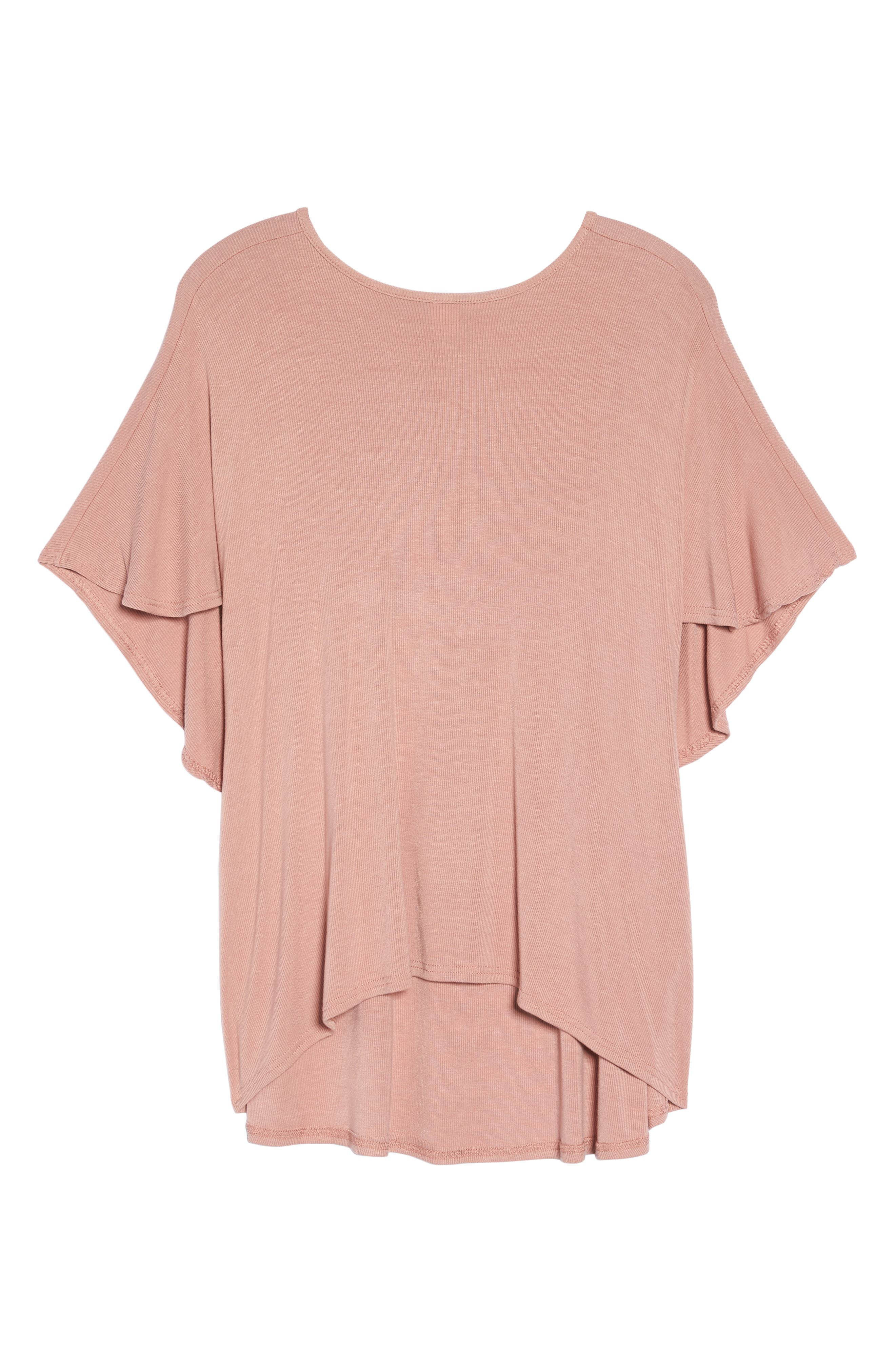 Ribbed Top with Cape,                             Alternate thumbnail 6, color,                             Pink