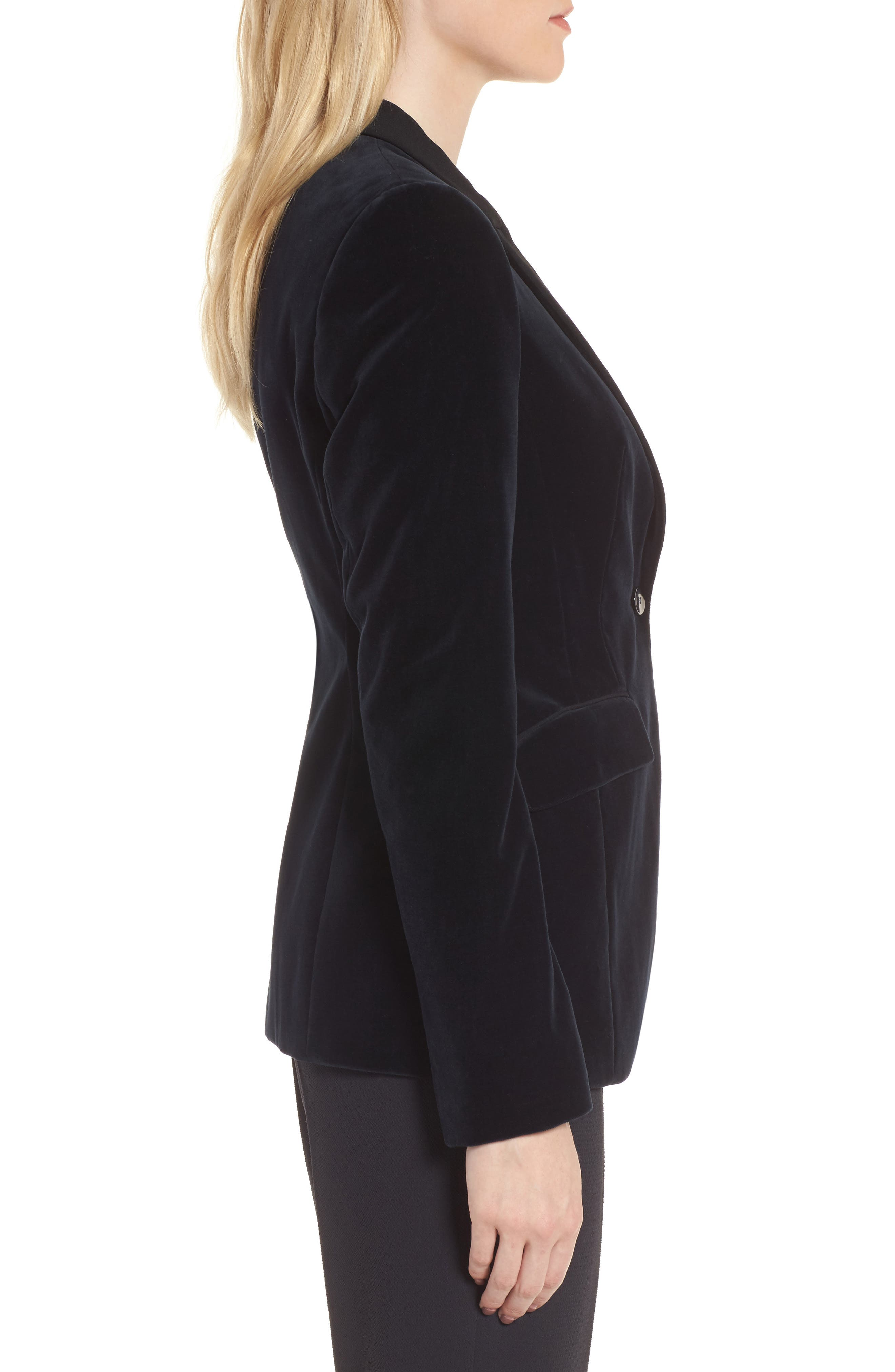 Jeronala Velvet Tuxedo Jacket,                             Alternate thumbnail 3, color,                             Navy