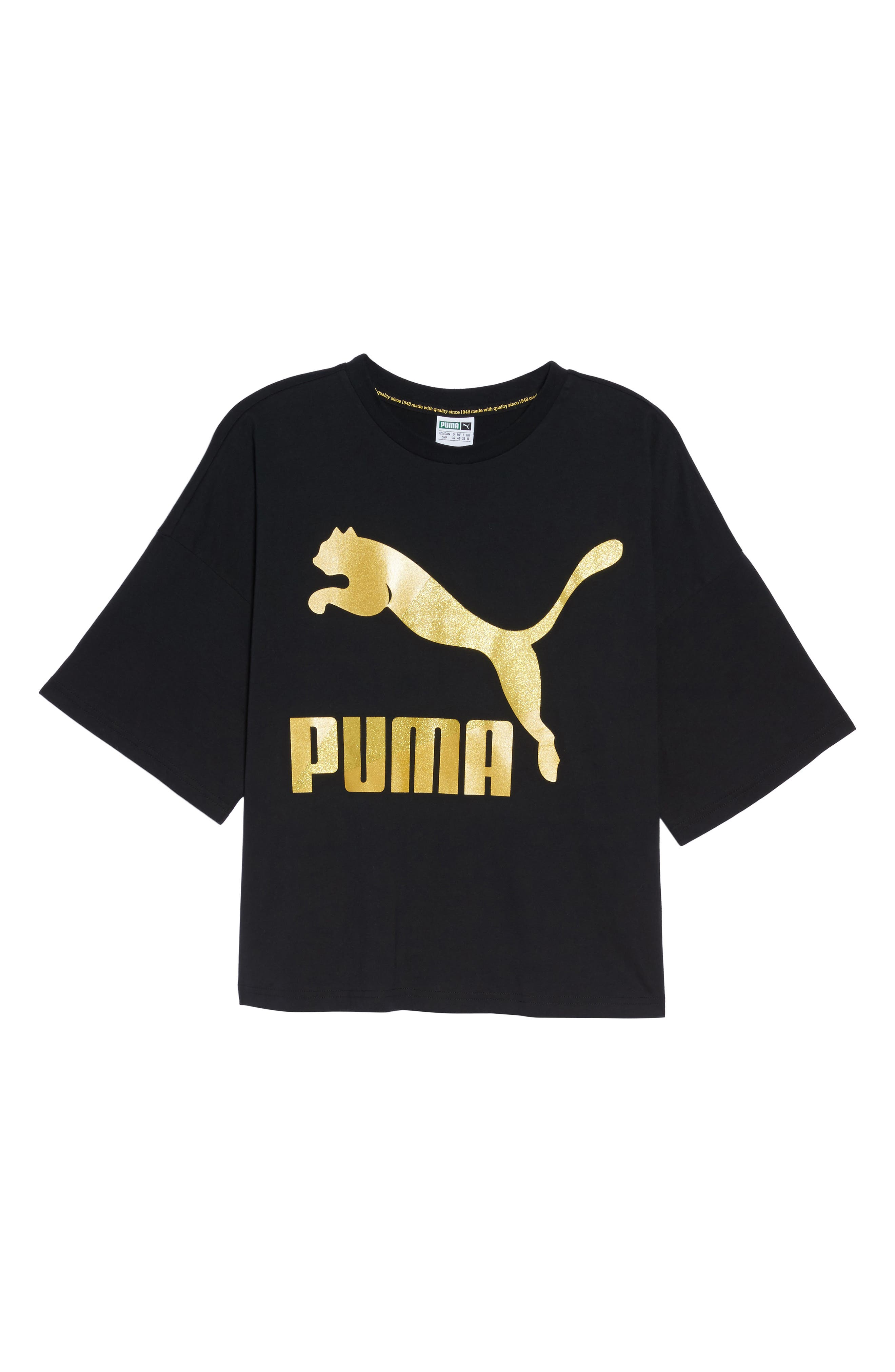 Glam Oversize Tee,                             Alternate thumbnail 7, color,                             Puma Black-Gold Glitter