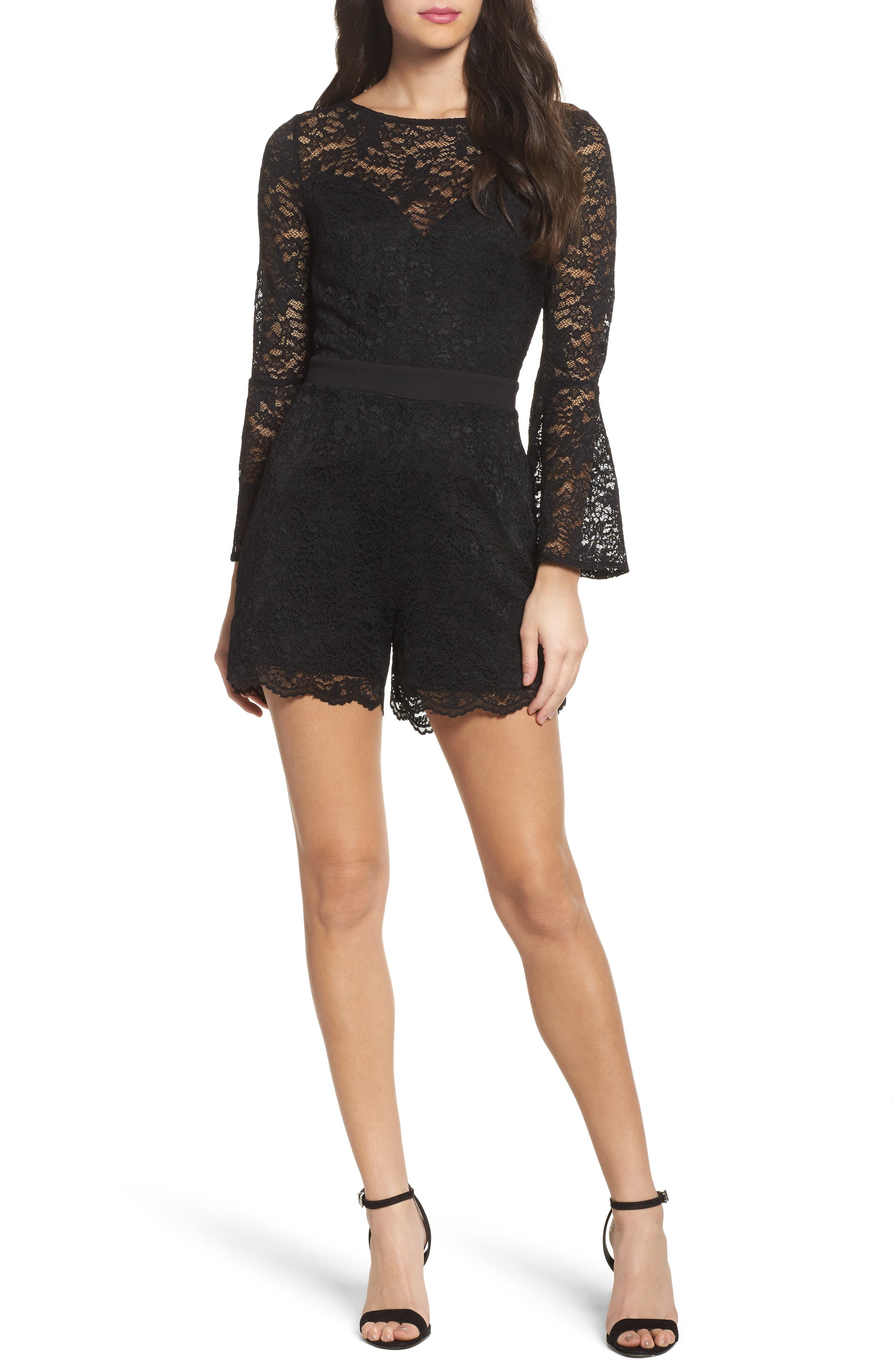 Bell Sleeve Lace Romper,                             Main thumbnail 1, color,                             Black