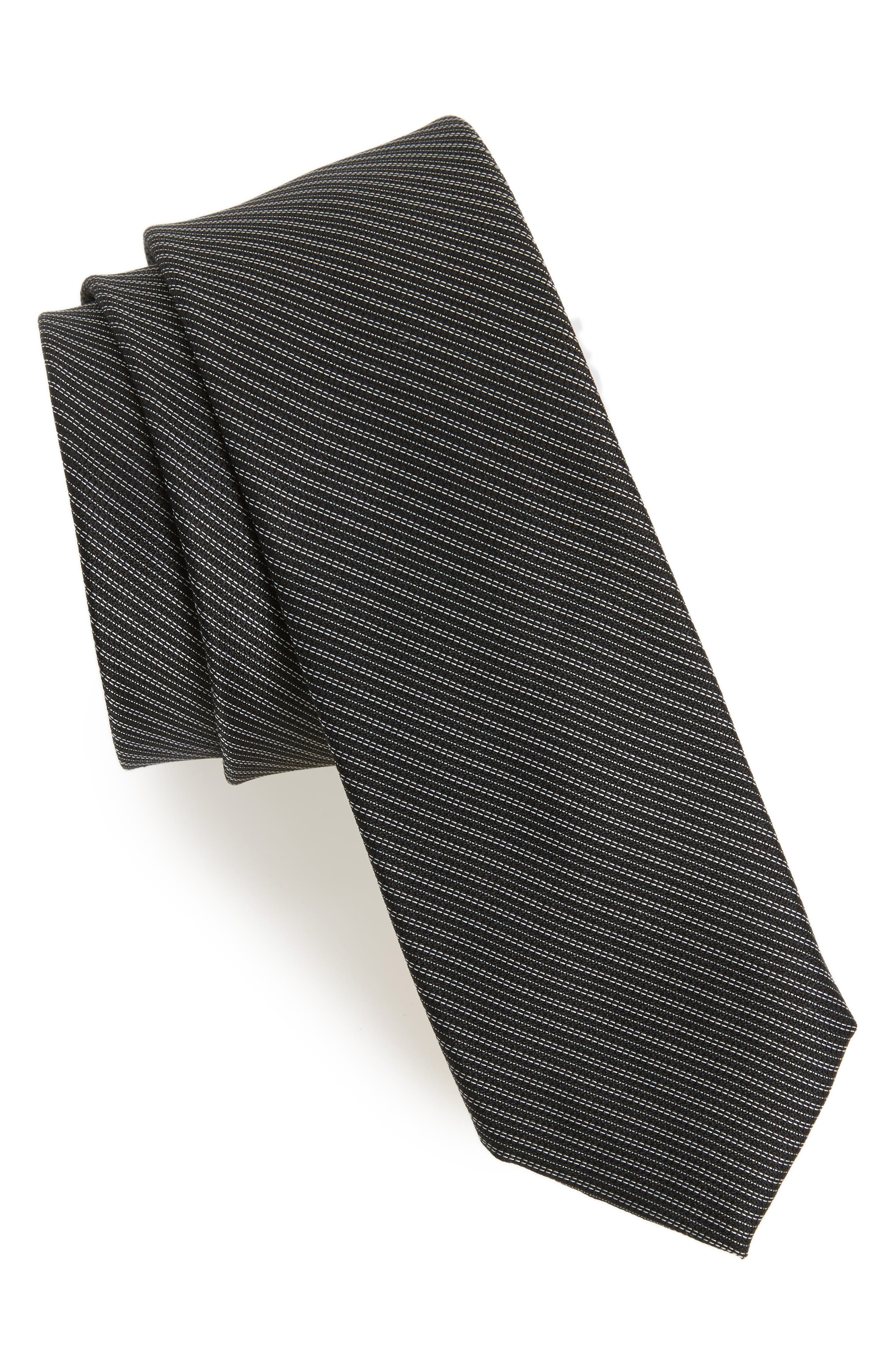 Black & White Silk Tie,                         Main,                         color, Black