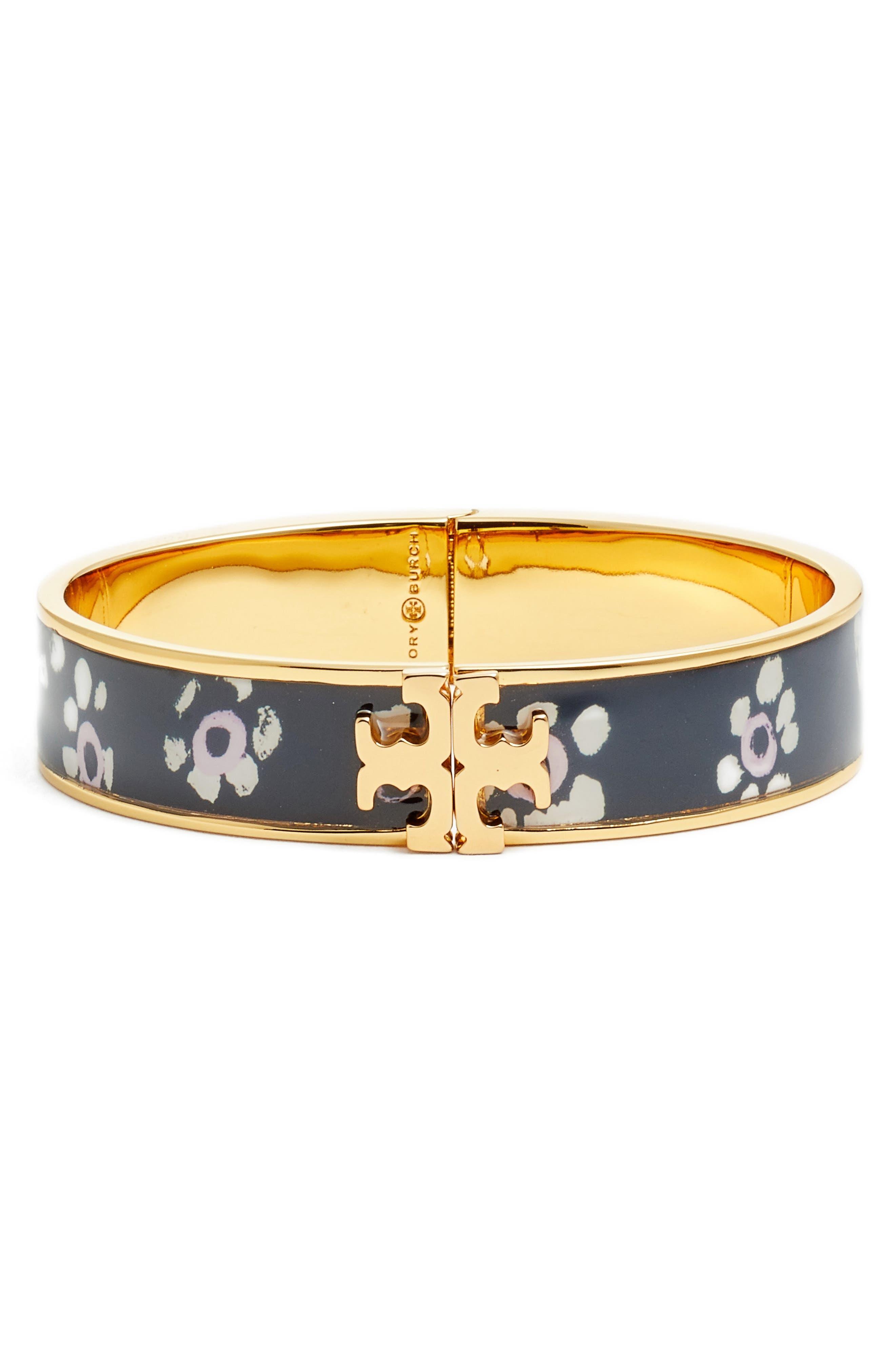 Logo Bracelet,                             Main thumbnail 1, color,                             Black Stamped Floral