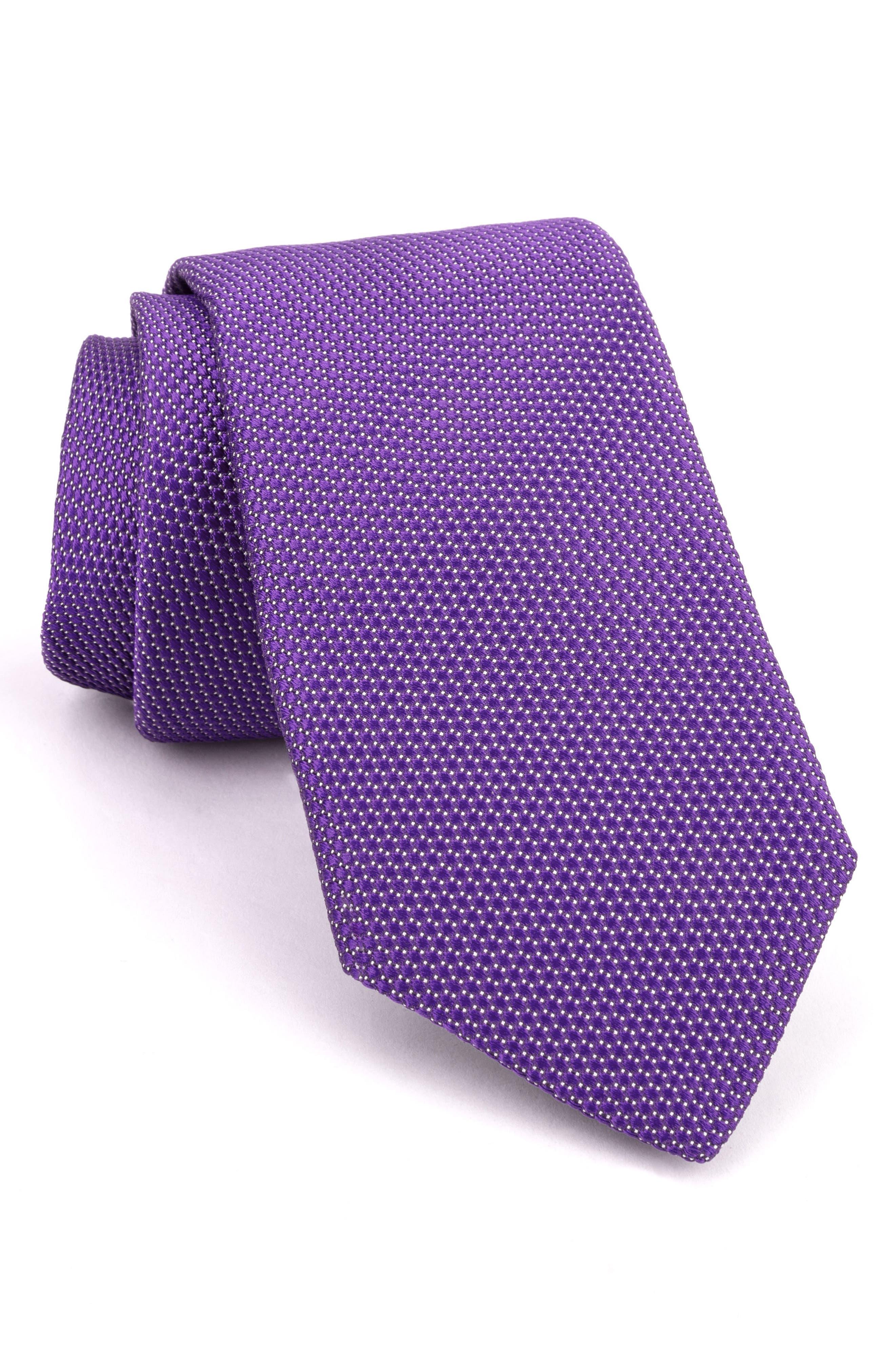 Micro Solid Silk Tie,                             Main thumbnail 1, color,                             Purple