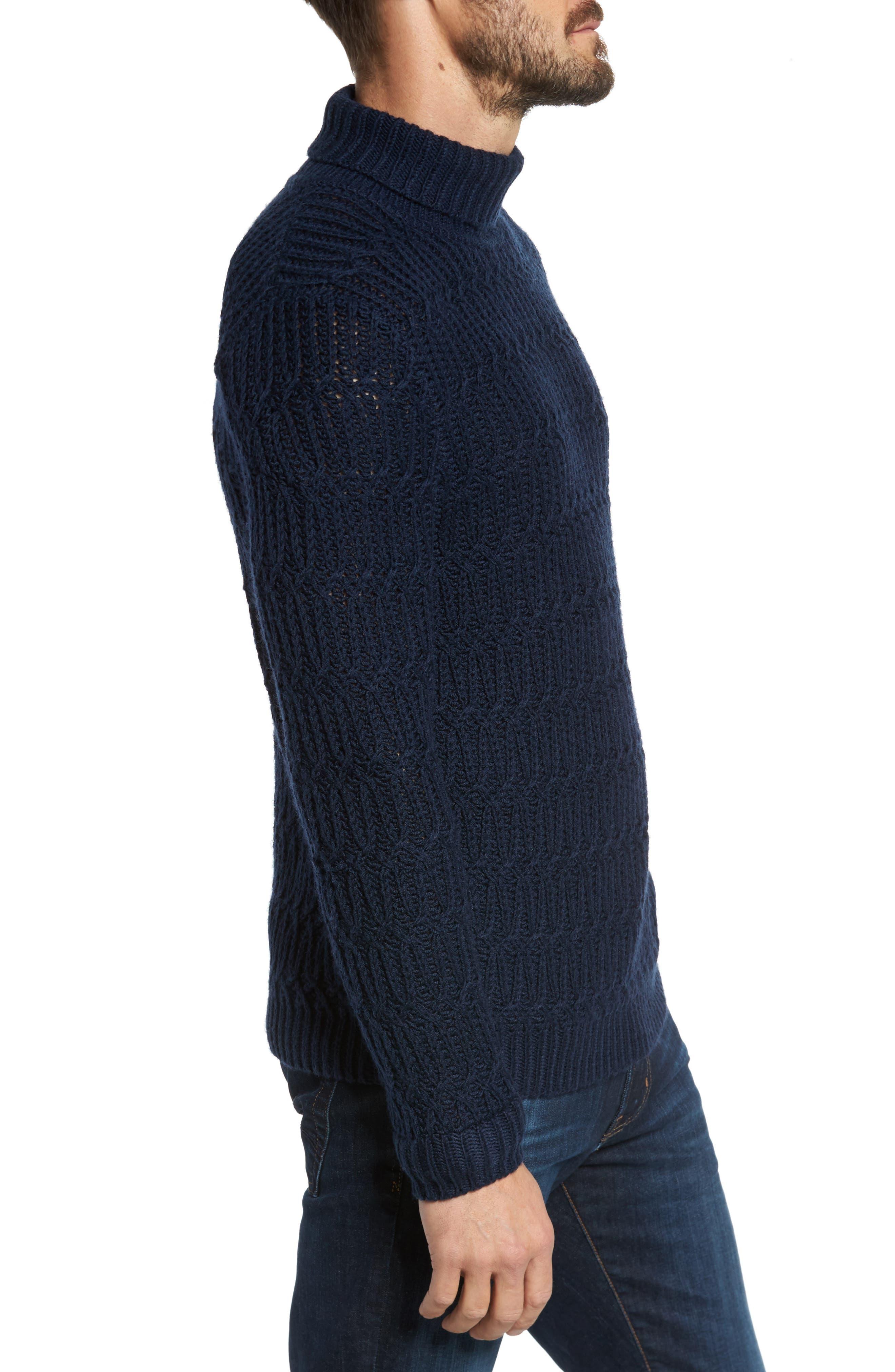 Chunky Turtleneck Sweater,                             Alternate thumbnail 5, color,                             Navy Iris