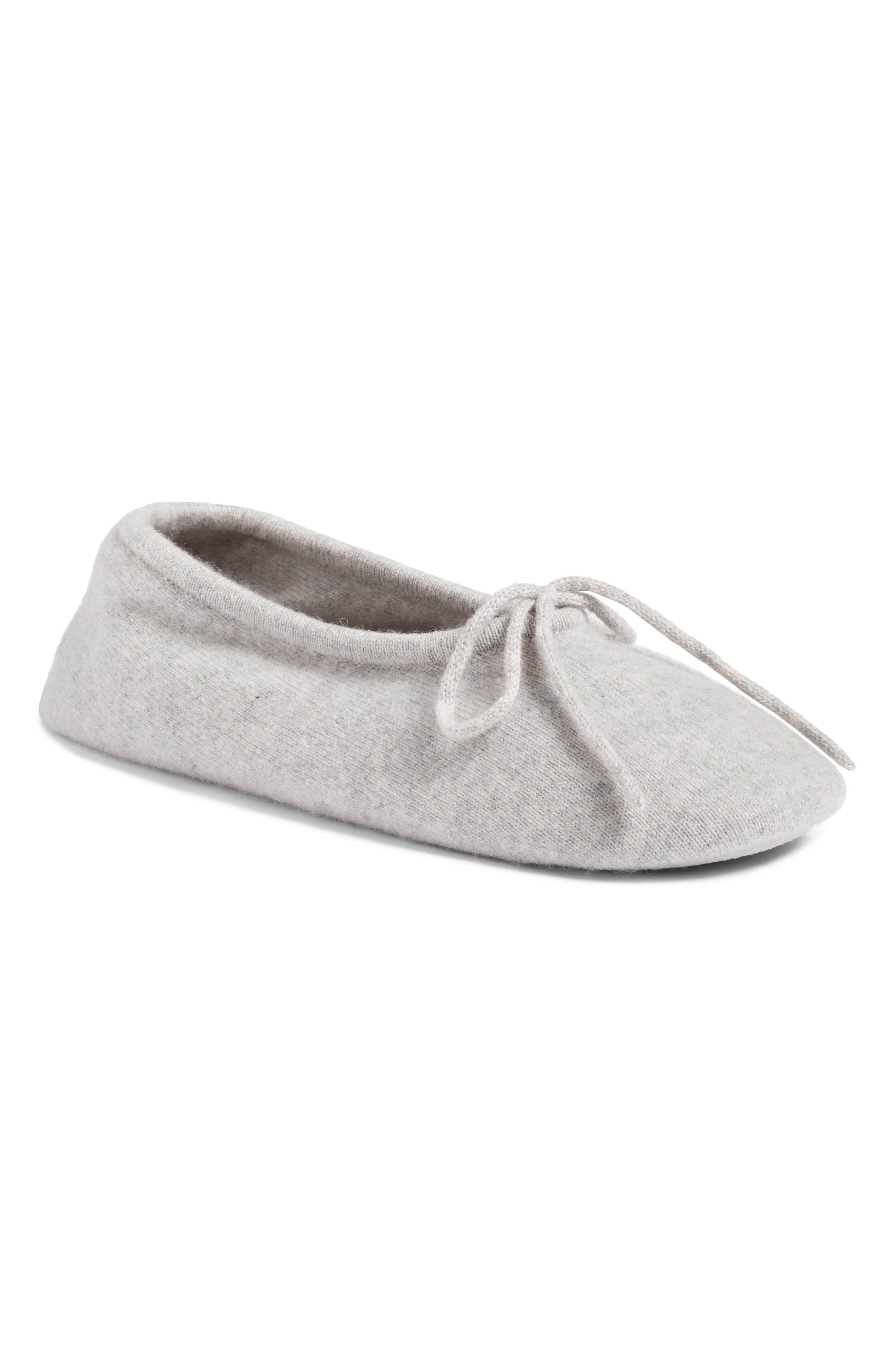 Wool & Cashmere Ballerina Slippers,                             Main thumbnail 1, color,                             Grey Soft Heather