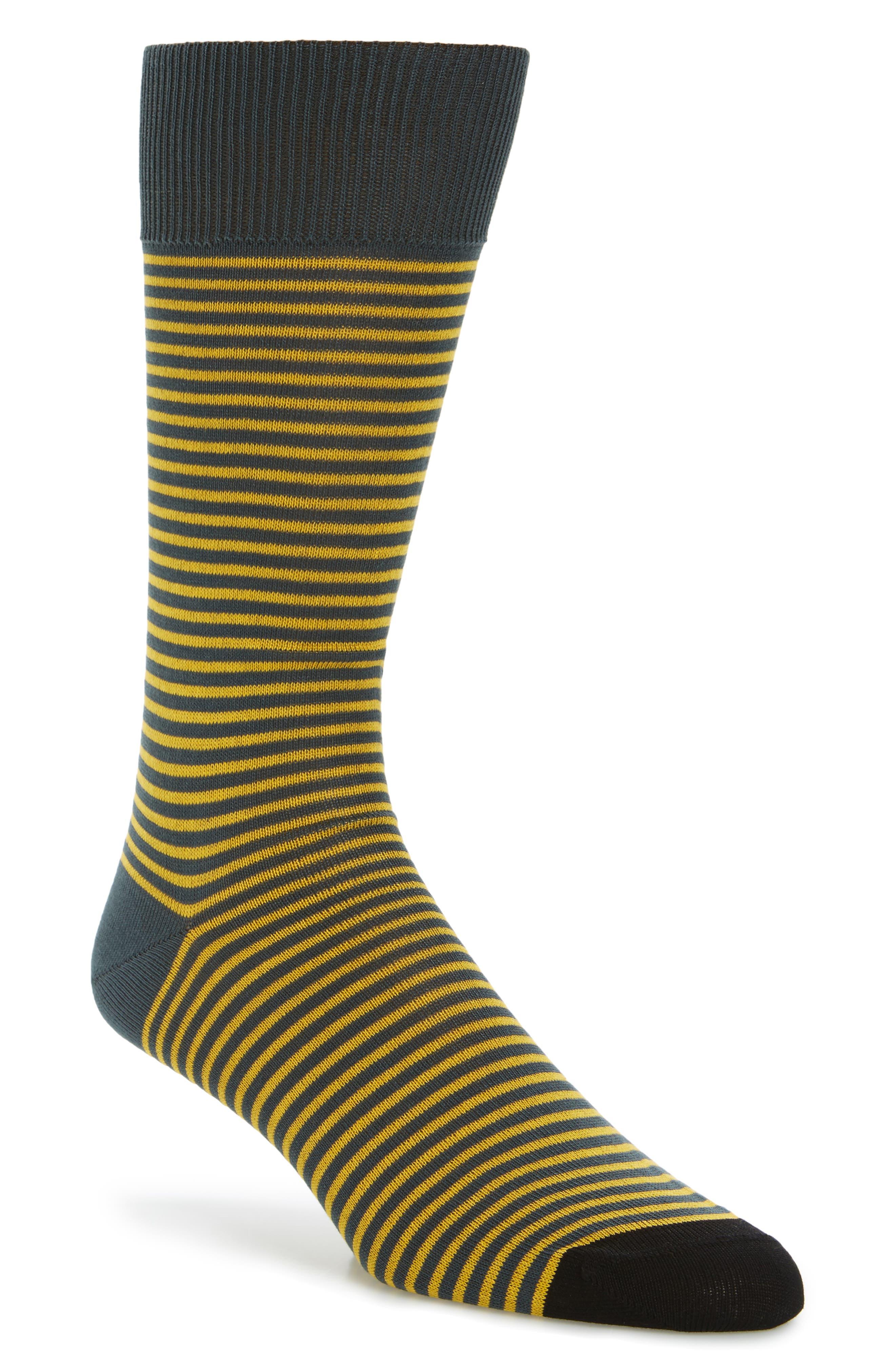 Mini Two-Stripe Socks,                             Main thumbnail 1, color,                             Black/ Yellow