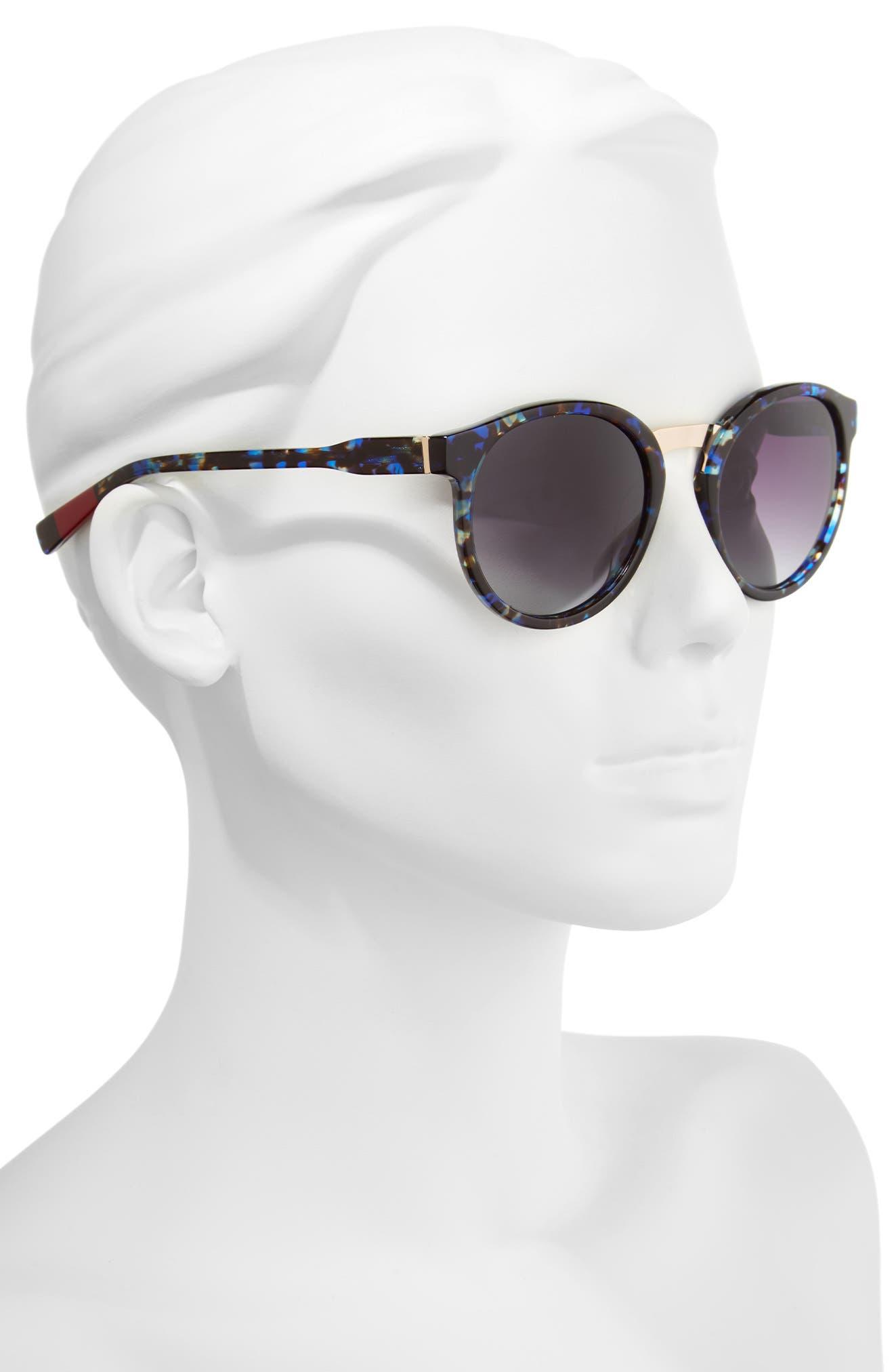 53mm Round Sunglasses,                             Alternate thumbnail 2, color,                             Blue Tortoise