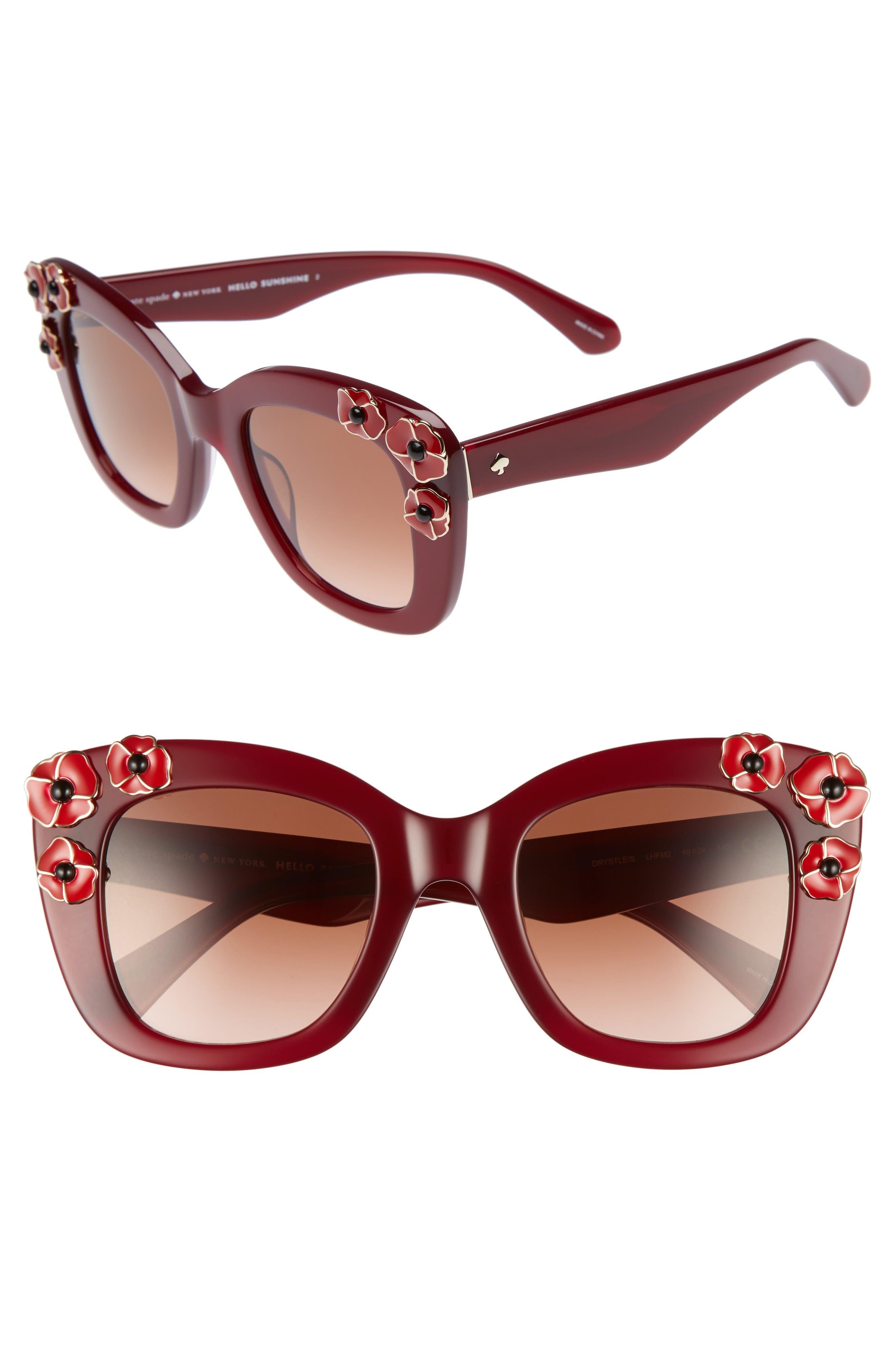 kate spade drystle 49mm floral embellished square sunglasses