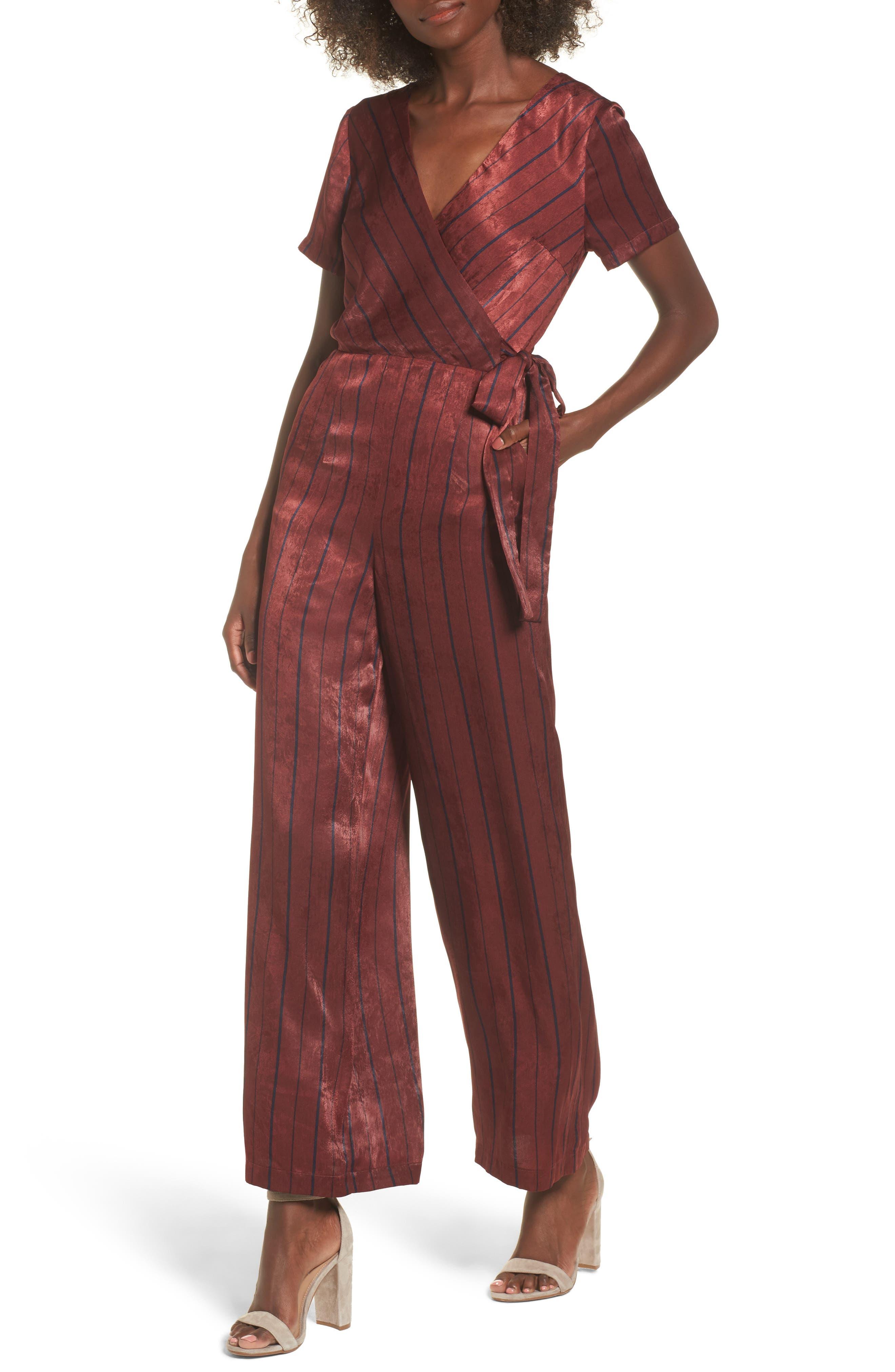 Stripe Jumpsuit,                             Main thumbnail 1, color,                             Wine Multi