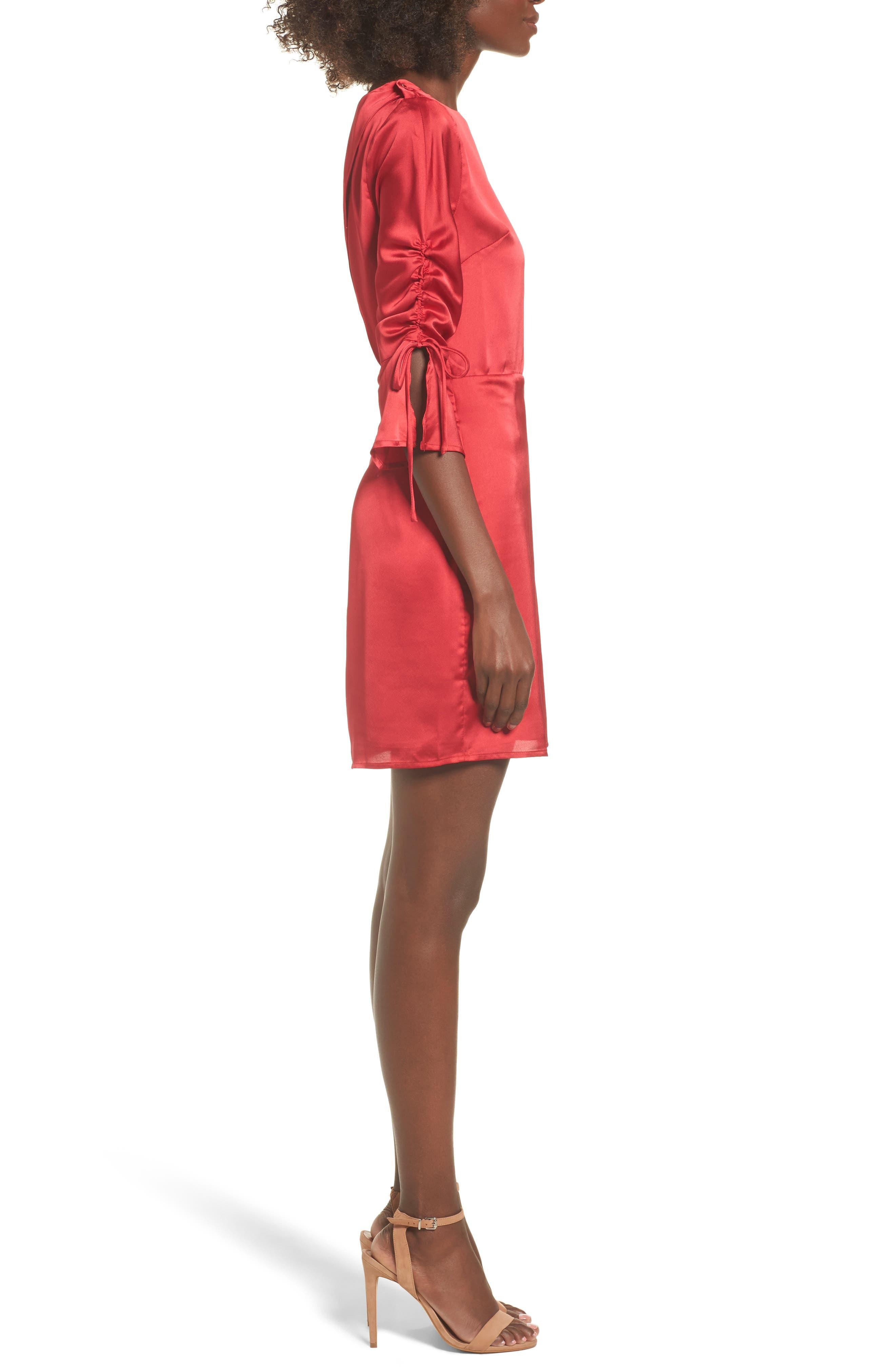 Tie Sleeve Minidress,                             Alternate thumbnail 3, color,                             Scarlett Red