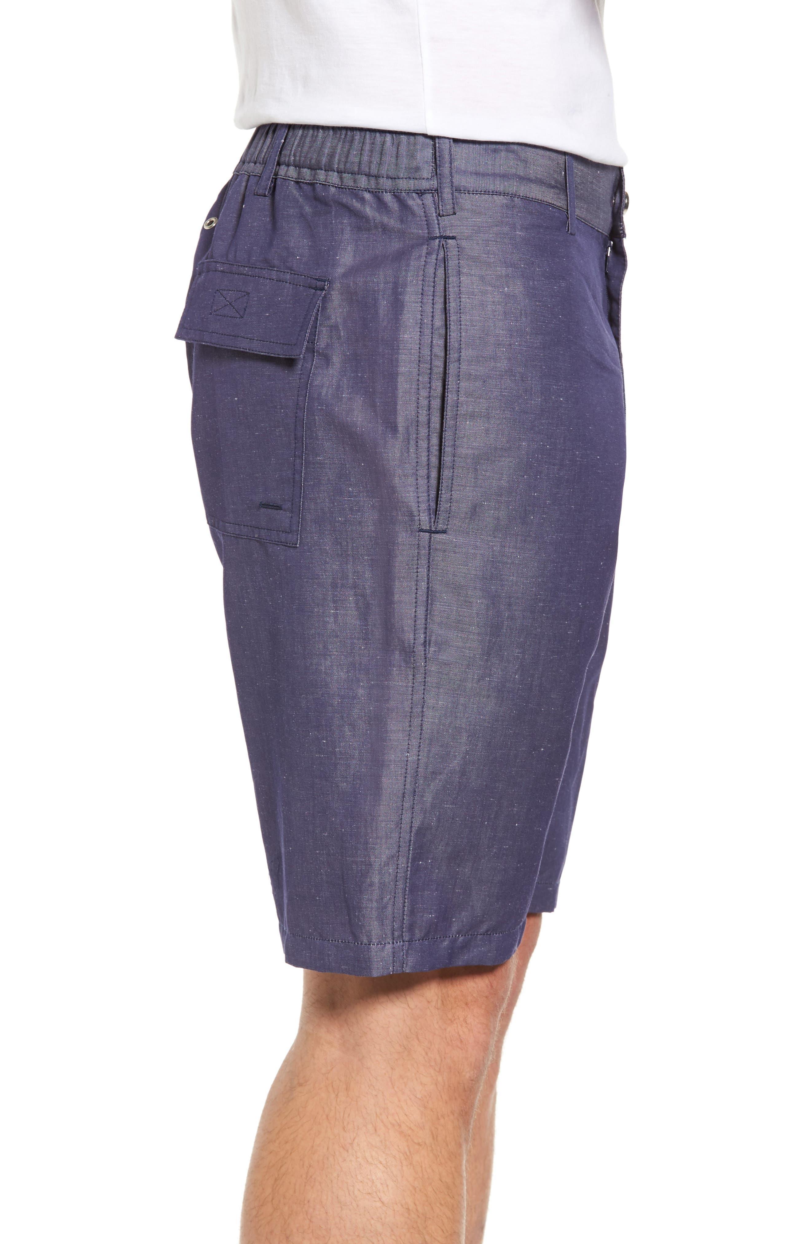Linen Blend Bermuda Shorts,                             Alternate thumbnail 3, color,                             Blue Jean