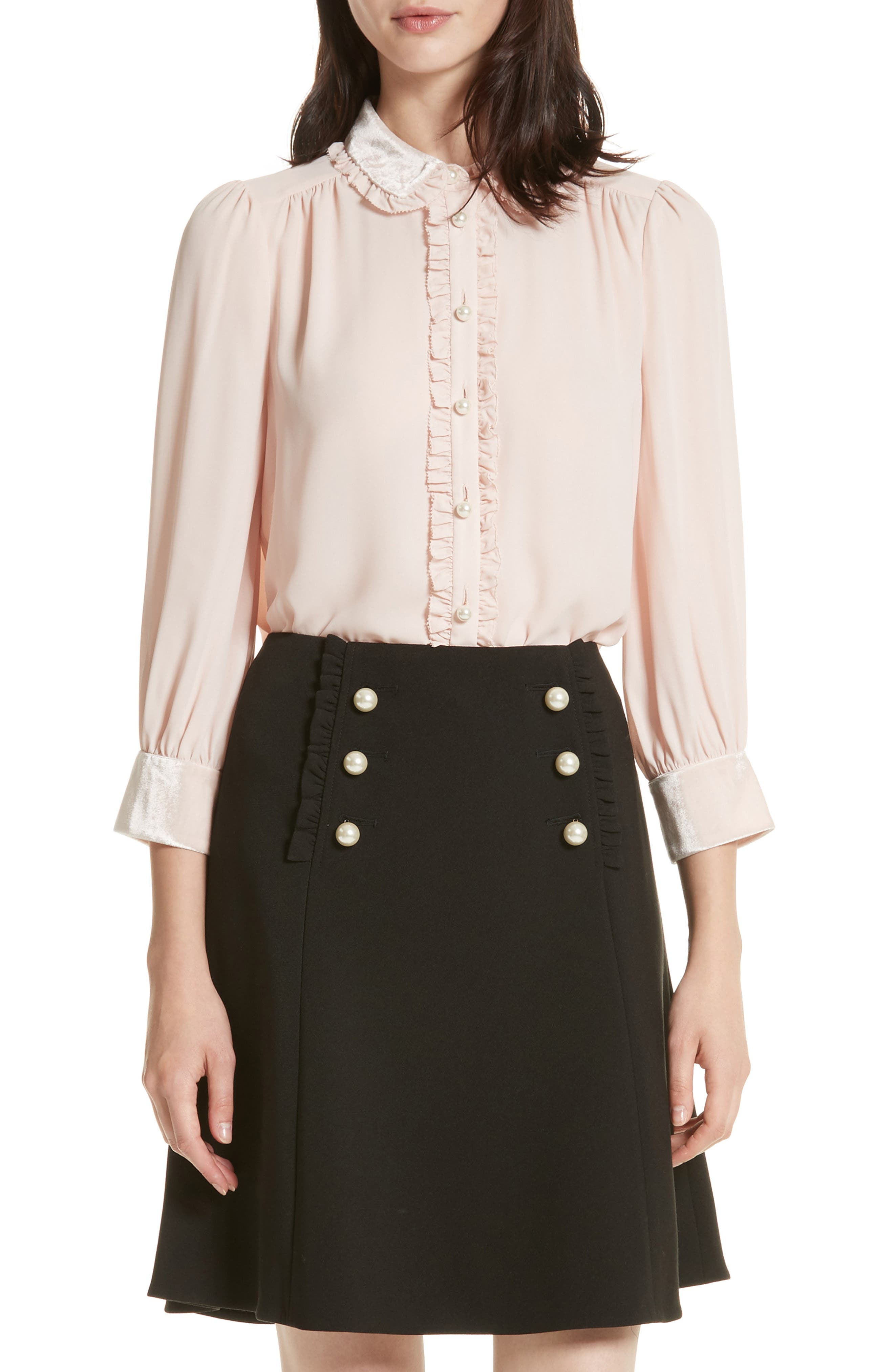 kate spade new york velvet trim pearly button shirt