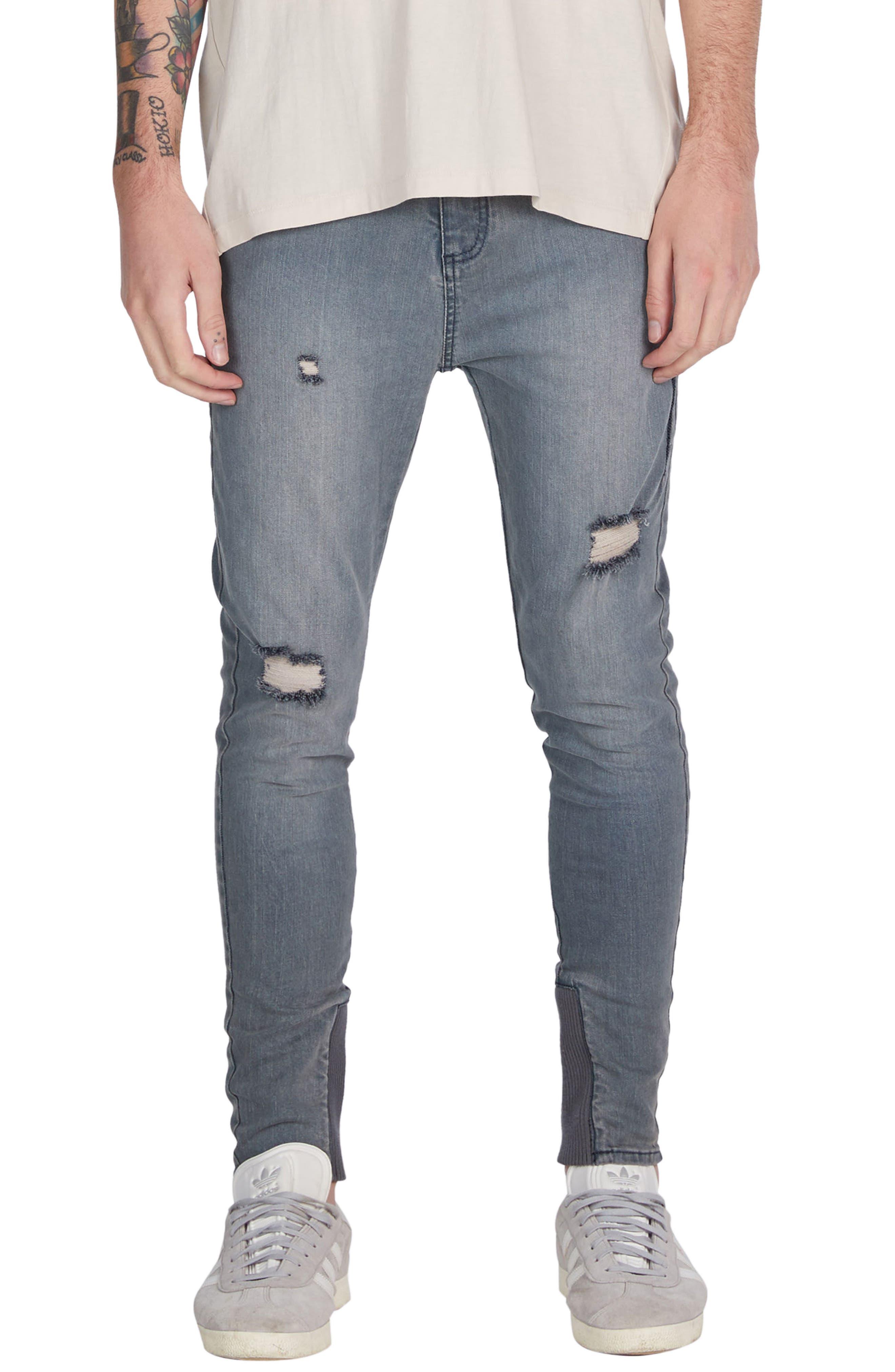 Sharpshot Slouchy Skinny Fit Denim Pants,                             Main thumbnail 1, color,                             Blue Grey